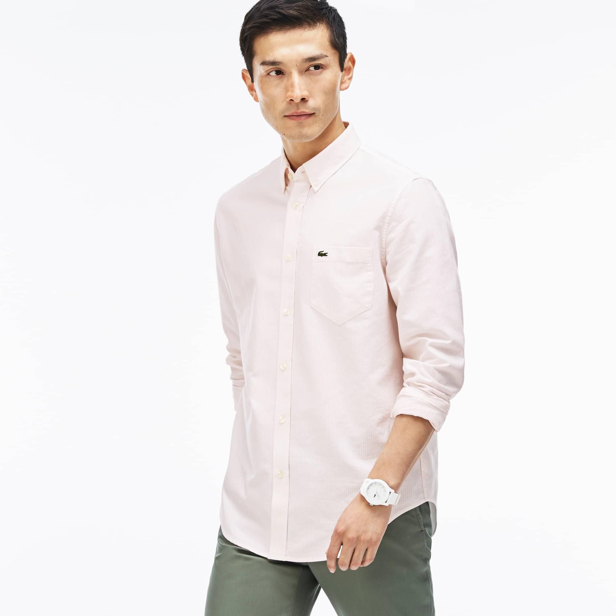 Men's Regular Fit Oxford Cotton Striped Shirt