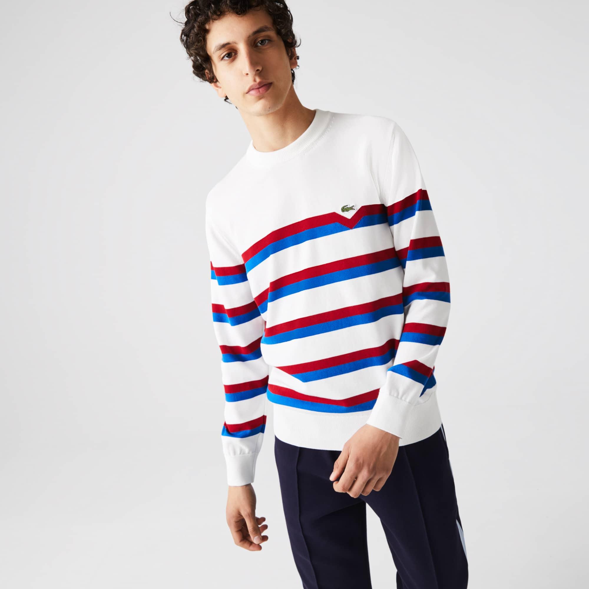 라코스테 맨 메이드 인 프랑스 스트라이프 스웨터 Lacoste Men's Made in France Striped Organic Cotton Sweater,White / Blue / Red X32