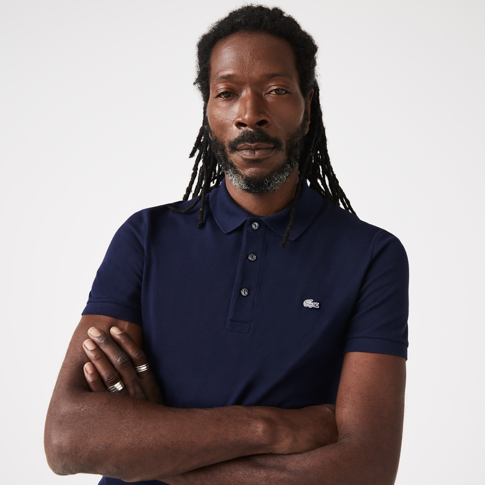 07b7bd7e6c6f0 Lacoste Men s Slim Fit Polo Shirt In Stretch Petit PiquÉ In Navy ...