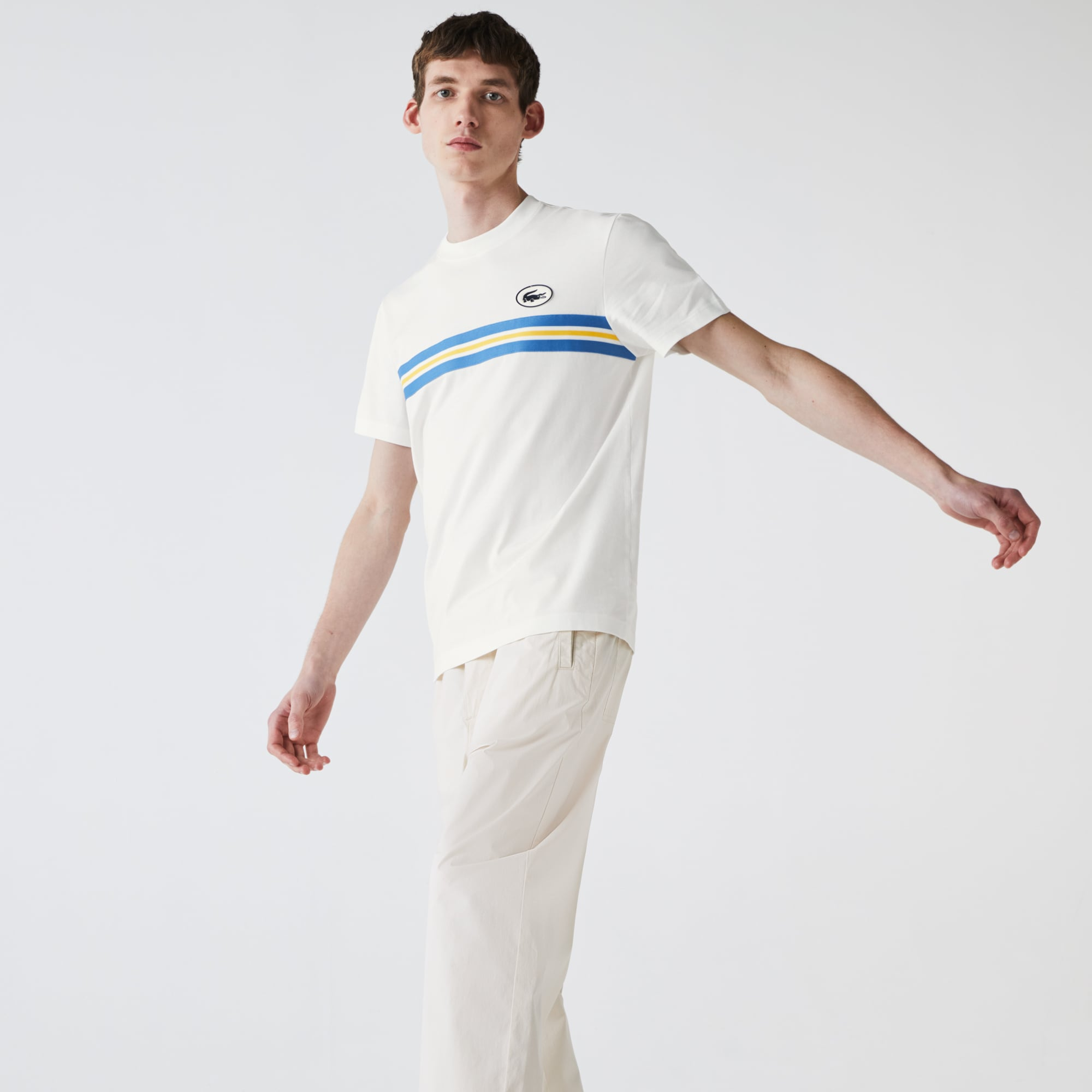 라코스테 Lacoste Men's Heritage Stripe Cotton T-shirt,White 70V