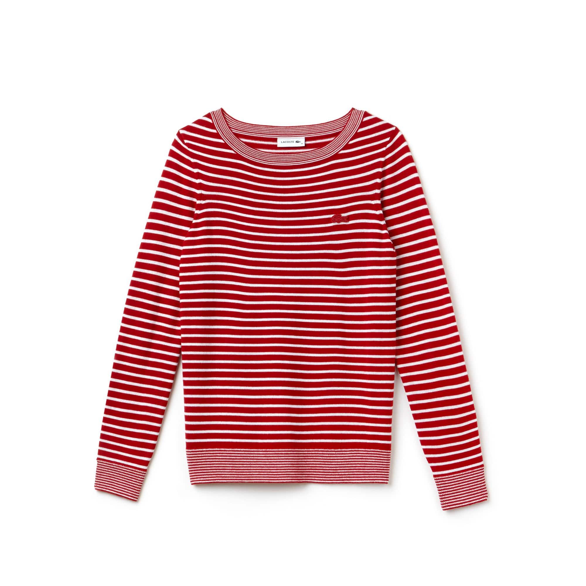 Women's Boat Neck Wool Blend Jersey Nautical Shirt