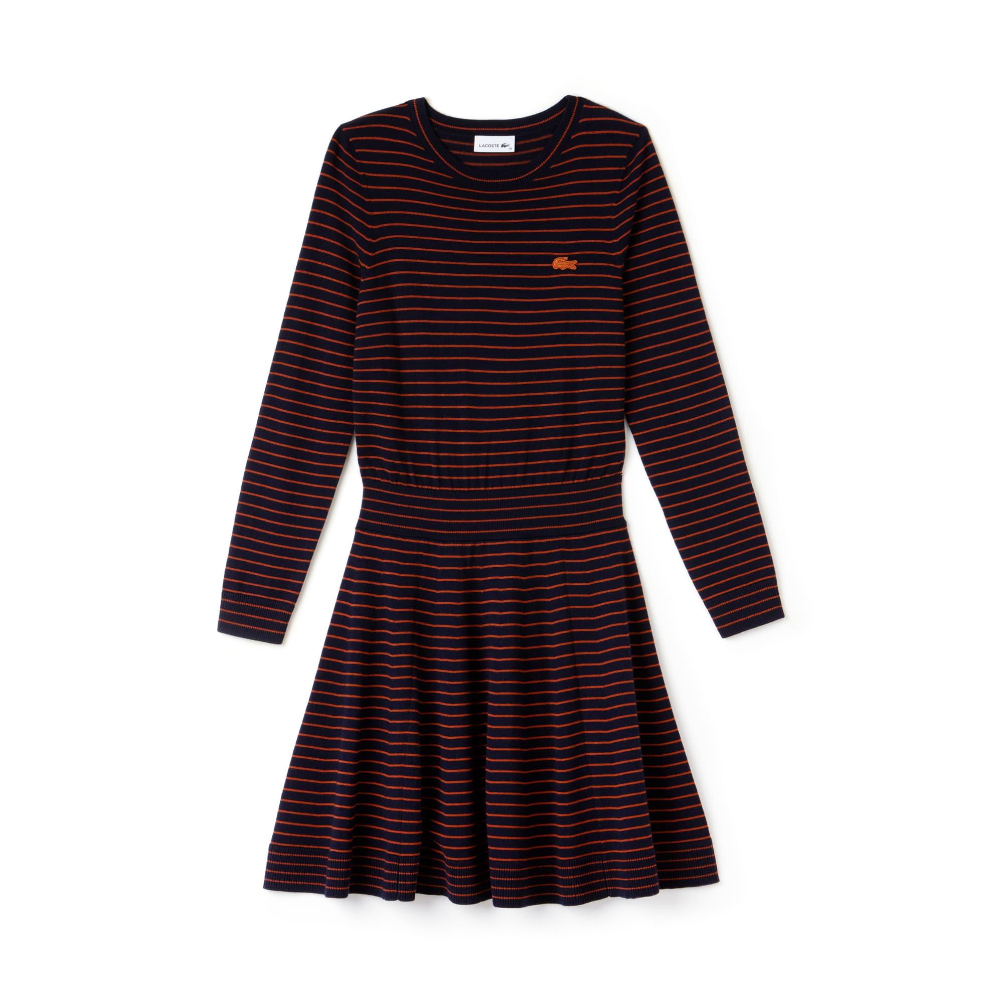 라코스테 피케 원피스 네이비 블루/오렌지 Lacoste Womens Fitted Wool Jersey Sweater Dress,navy blue/nevada orange