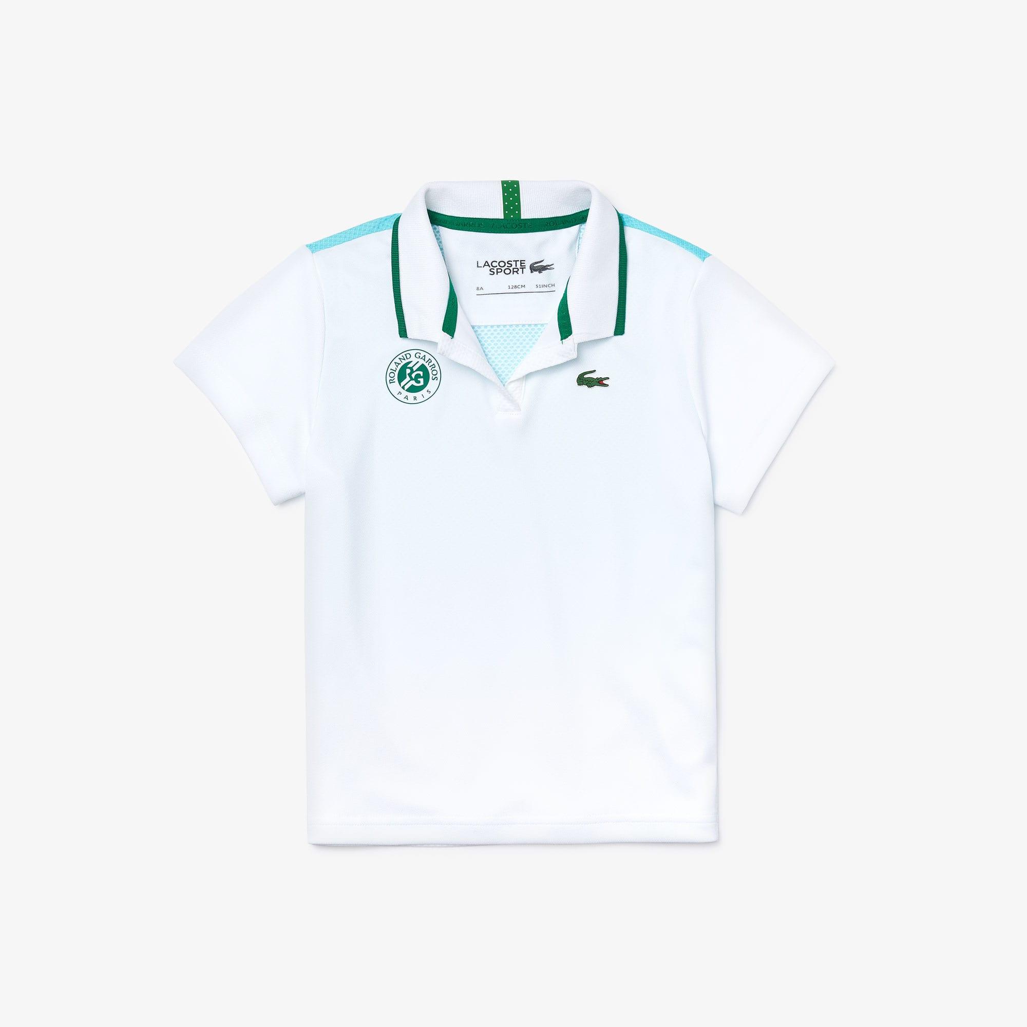라코스테 걸즈 스포츠 롤랑가로스 폴로 셔츠 Lacoste Girls SPORT Roland Garros V-Neck Polo Shirt,White / Turquoise / Green • YPK
