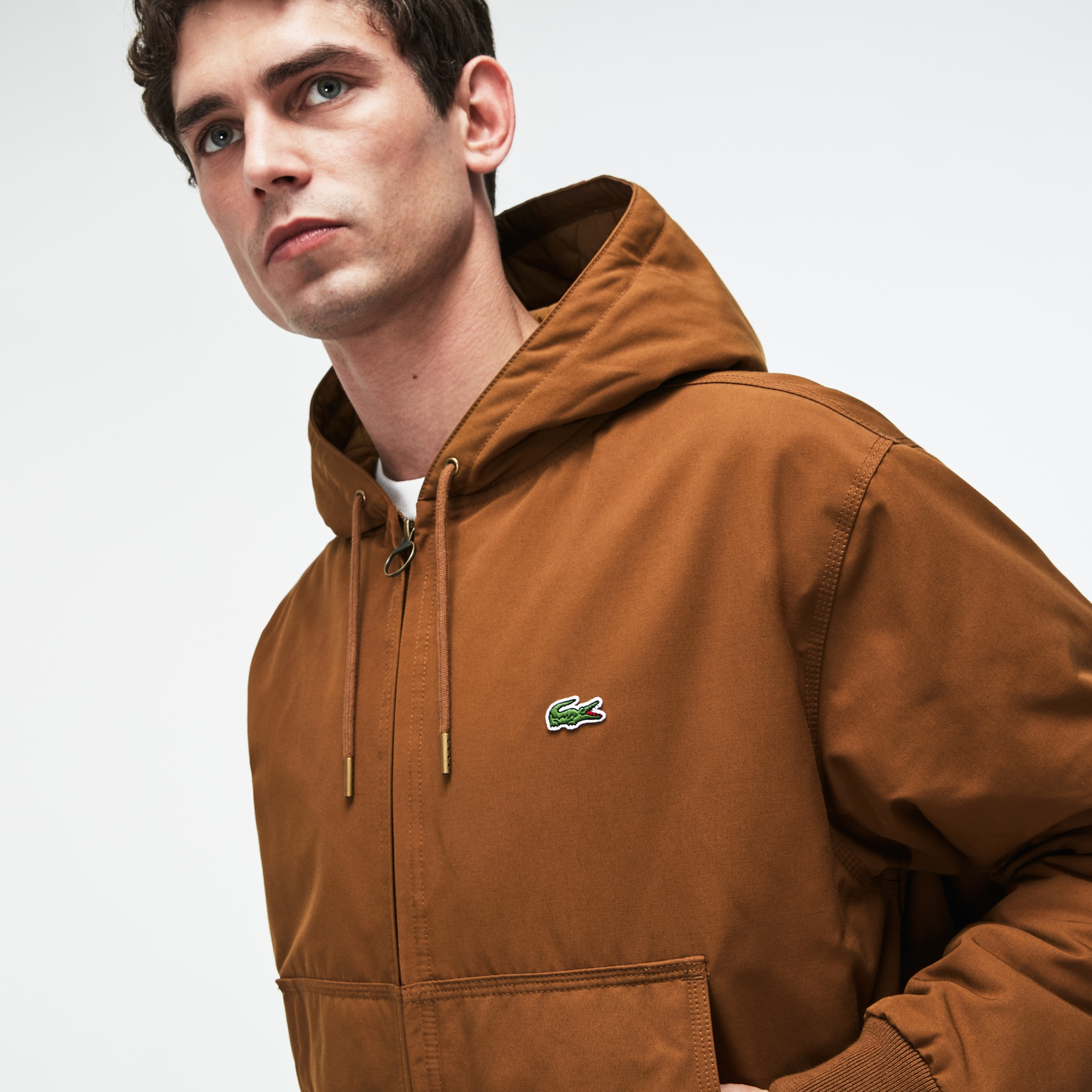 Men's Short Hooded Quilted Twill Jacket