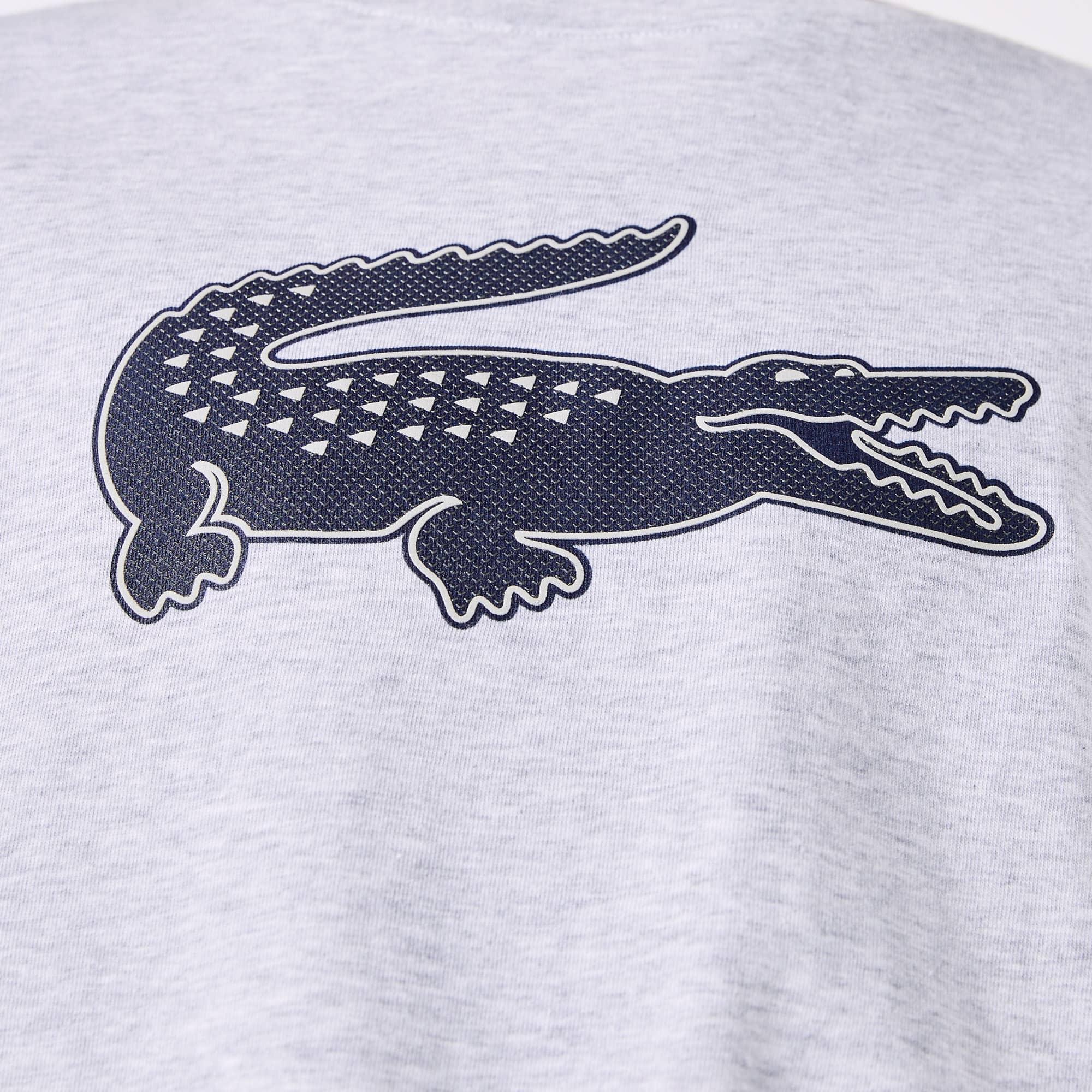 Men/'s Lacoste Crocodile Print Crew Neck Short Sleeve T-Shirt in Blue