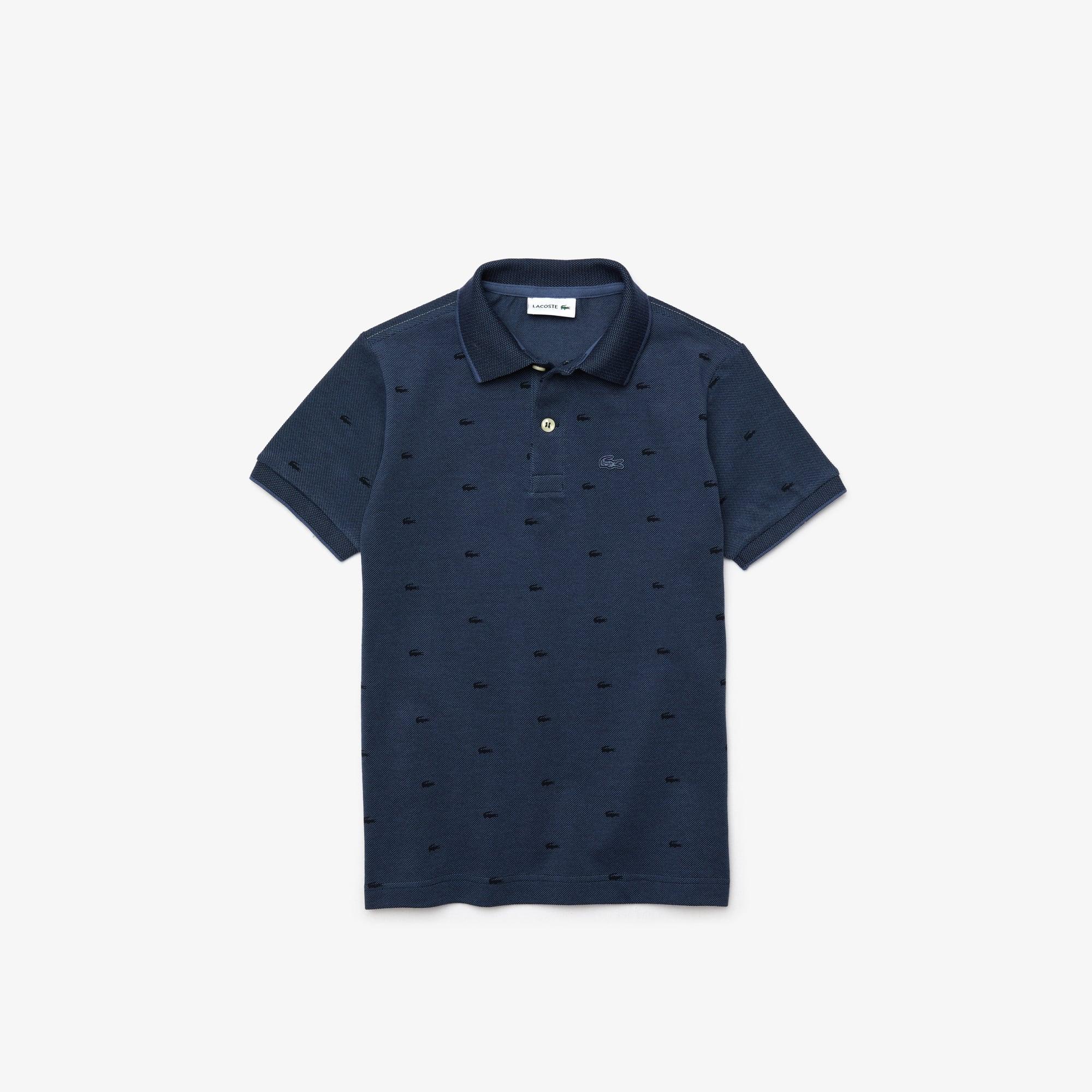 라코스테 Lacoste Boy's Allover Croc-Print Polo,Blue / Navy Blue • USU