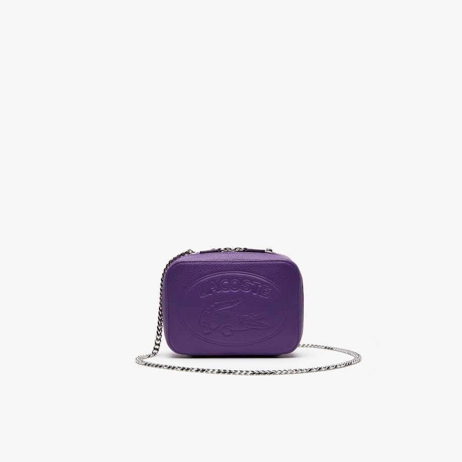 라코스테 악어 로고 체인 숄더백 - 라일락 Lacoste Womens Croco Crew Grained Leather Zip Shoulder Bag,ROYAL LILAC - C78