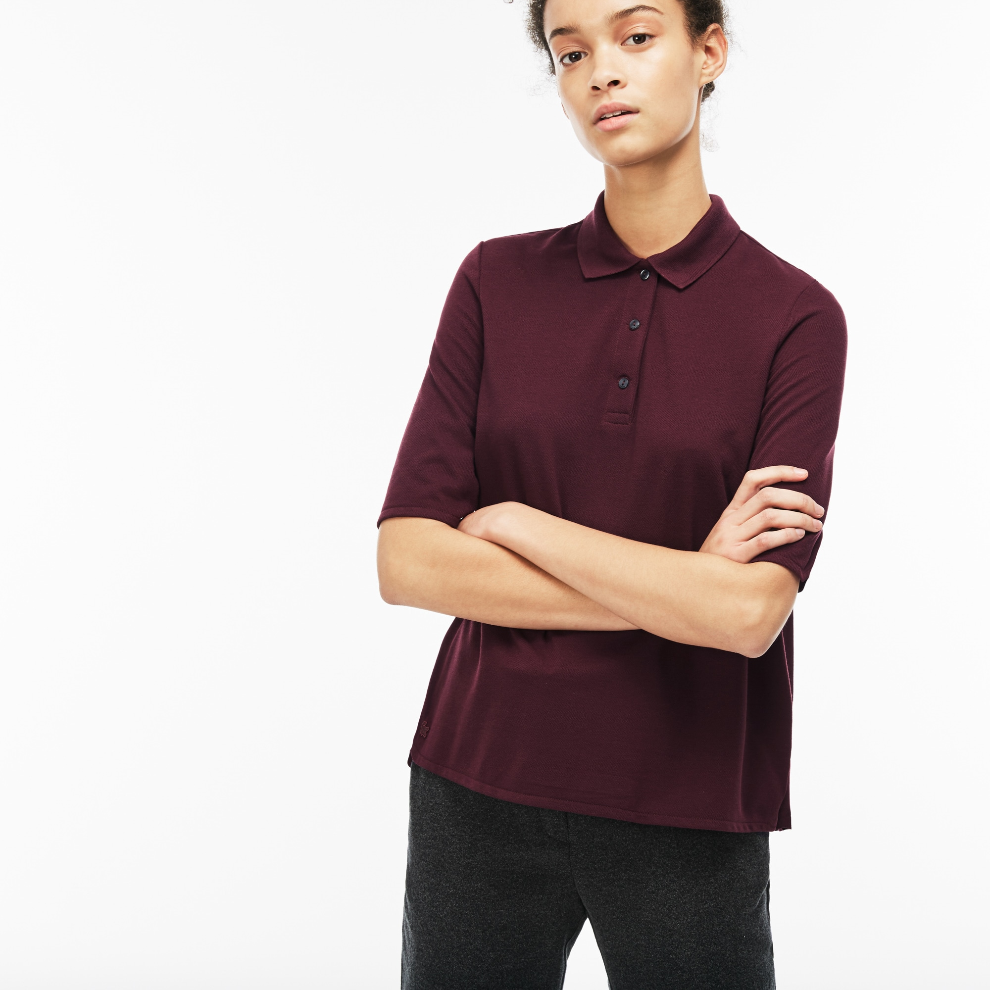 Women's  Pleated Back Petit Piqué Polo