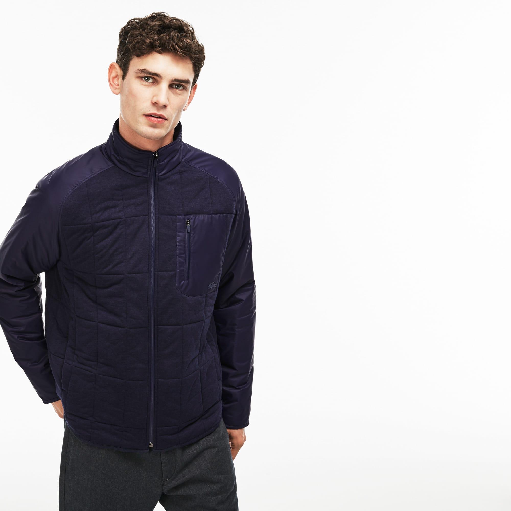 Men's Stand-Up Collar Nylon Accent Zippered Fleece Sweatshirt