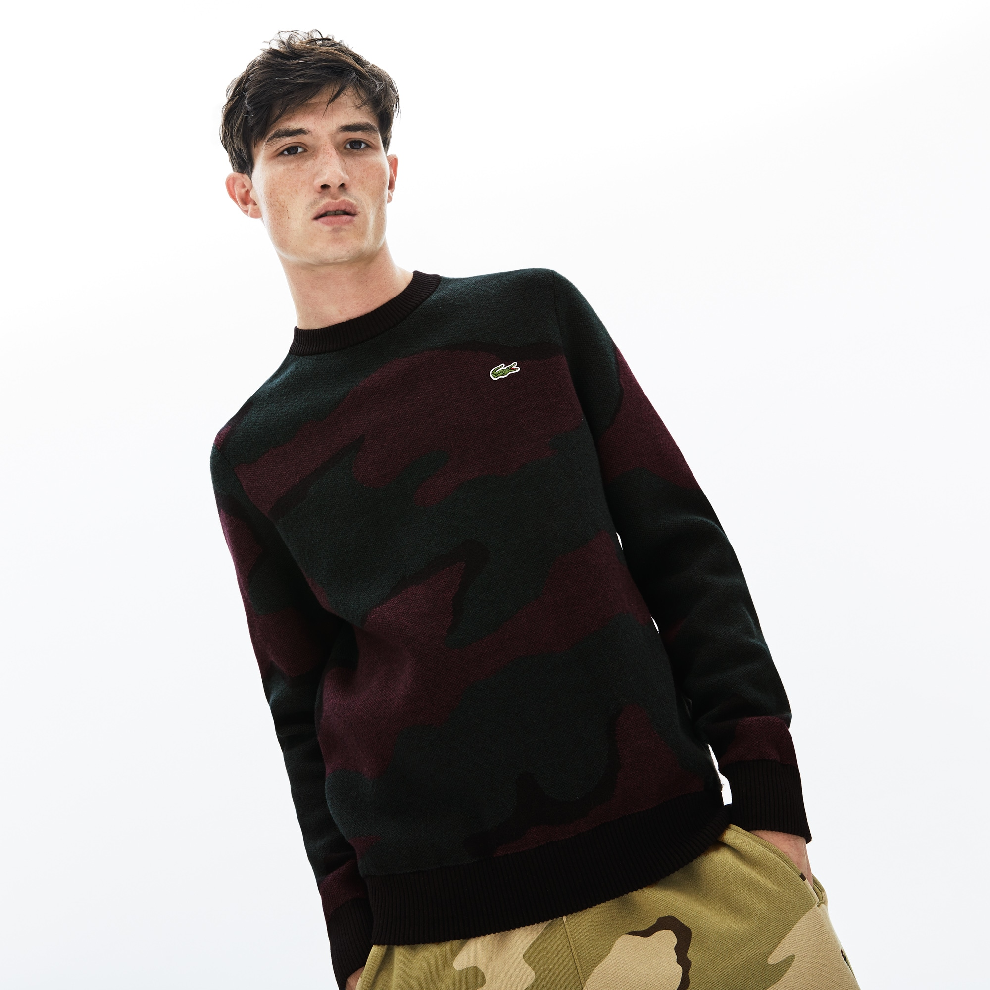Men's LIVE Camouflage Cashmere And Cotton Jacquard Sweater