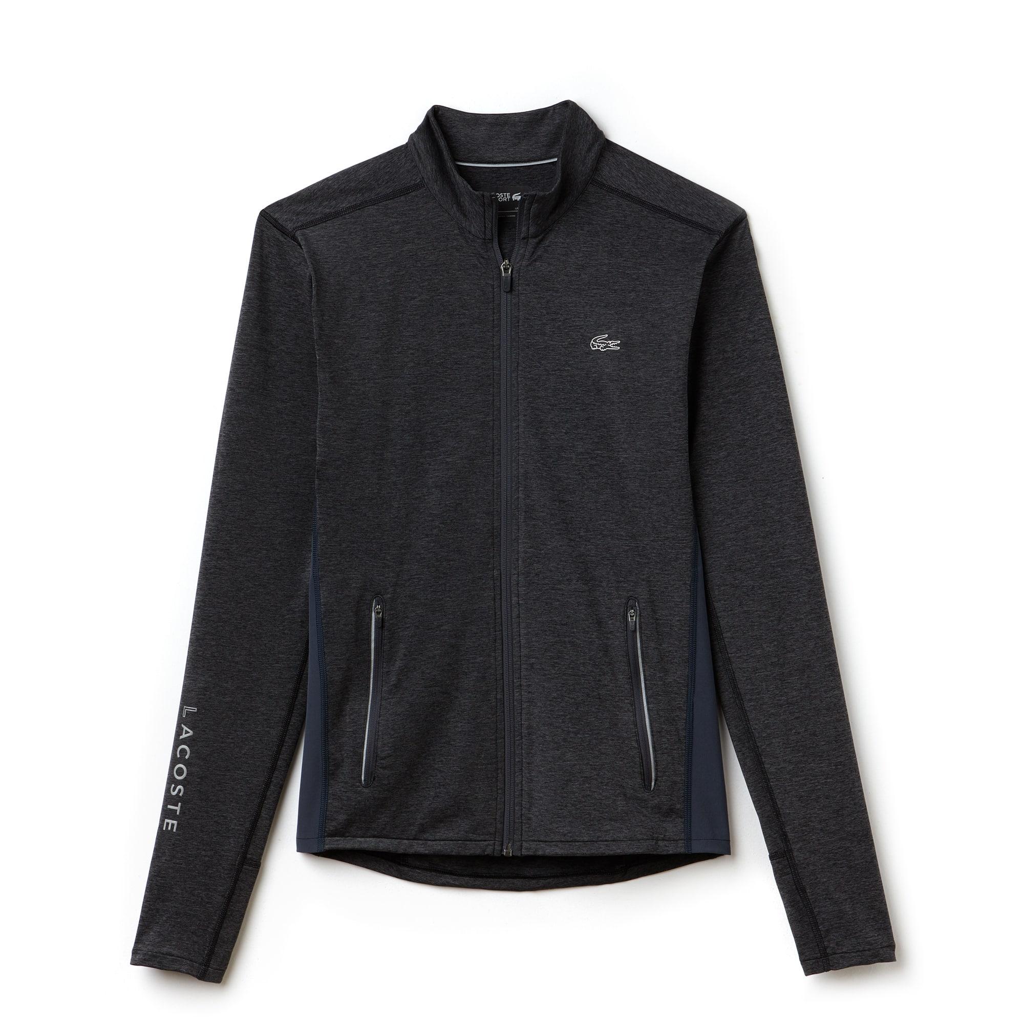 라코스테 Lacoste Mens SPORT Tennis Zippered Stretch Jersey Sweatshirt,pitch/graphite