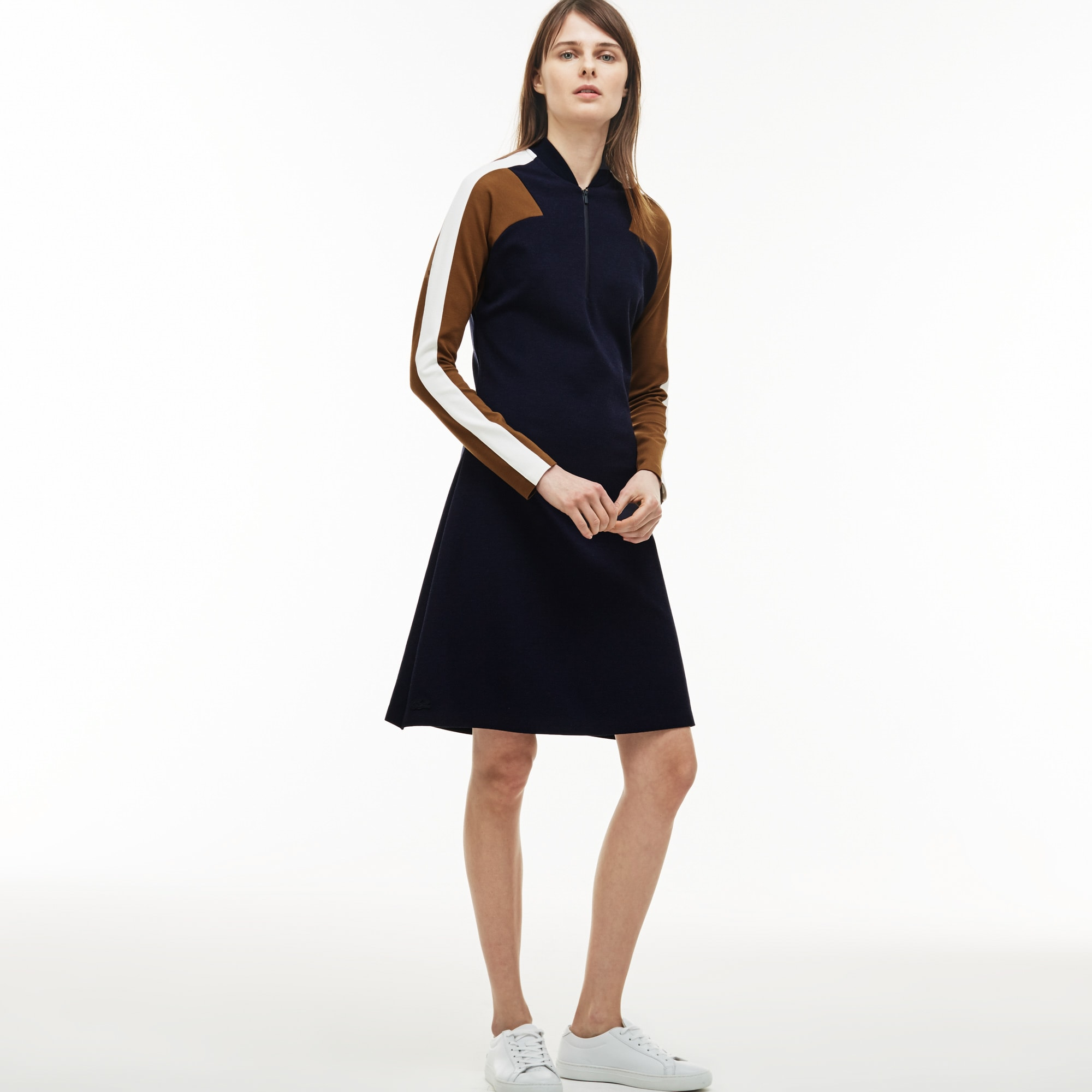 Women's Made In France Zip Neck Colorblock Milano Wool Polo Dress