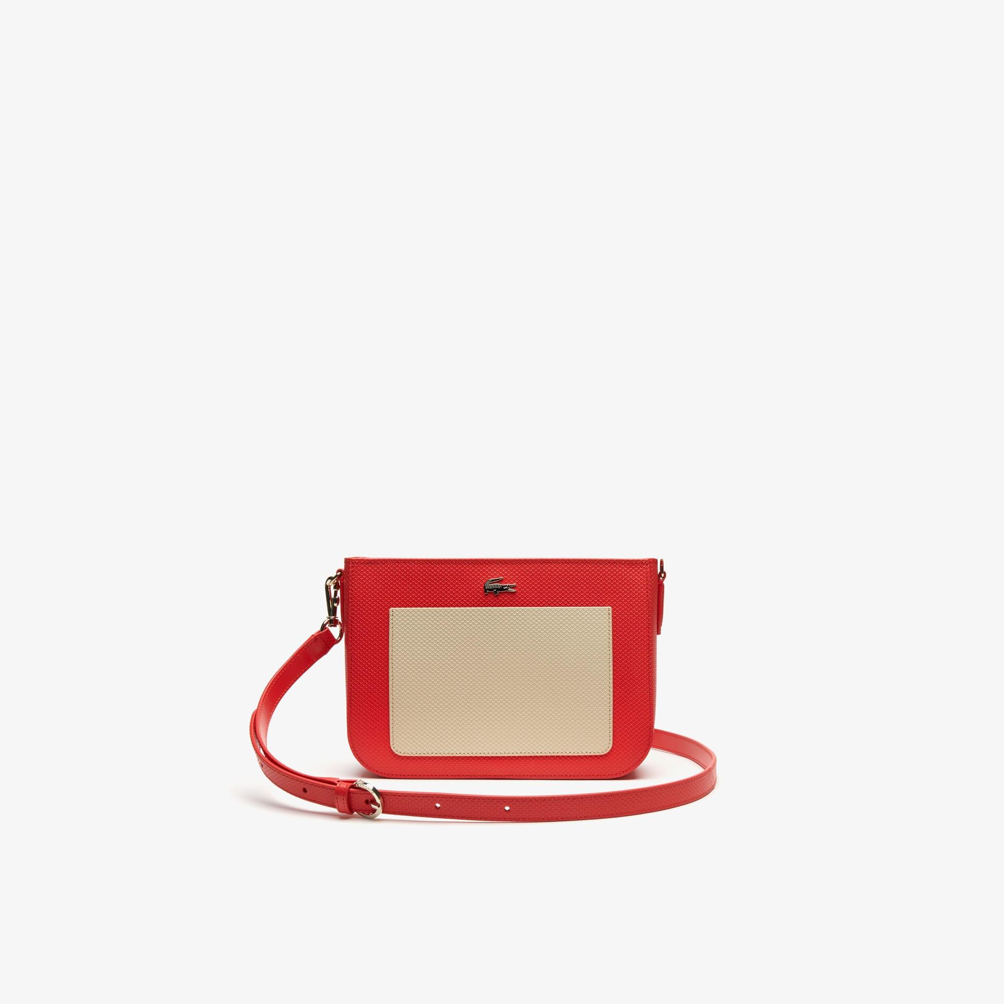 라코스테 Lacoste Womens Chantaco Colourblock Pique Leather Shoulder Bag,BITTERSWEET FOG E33