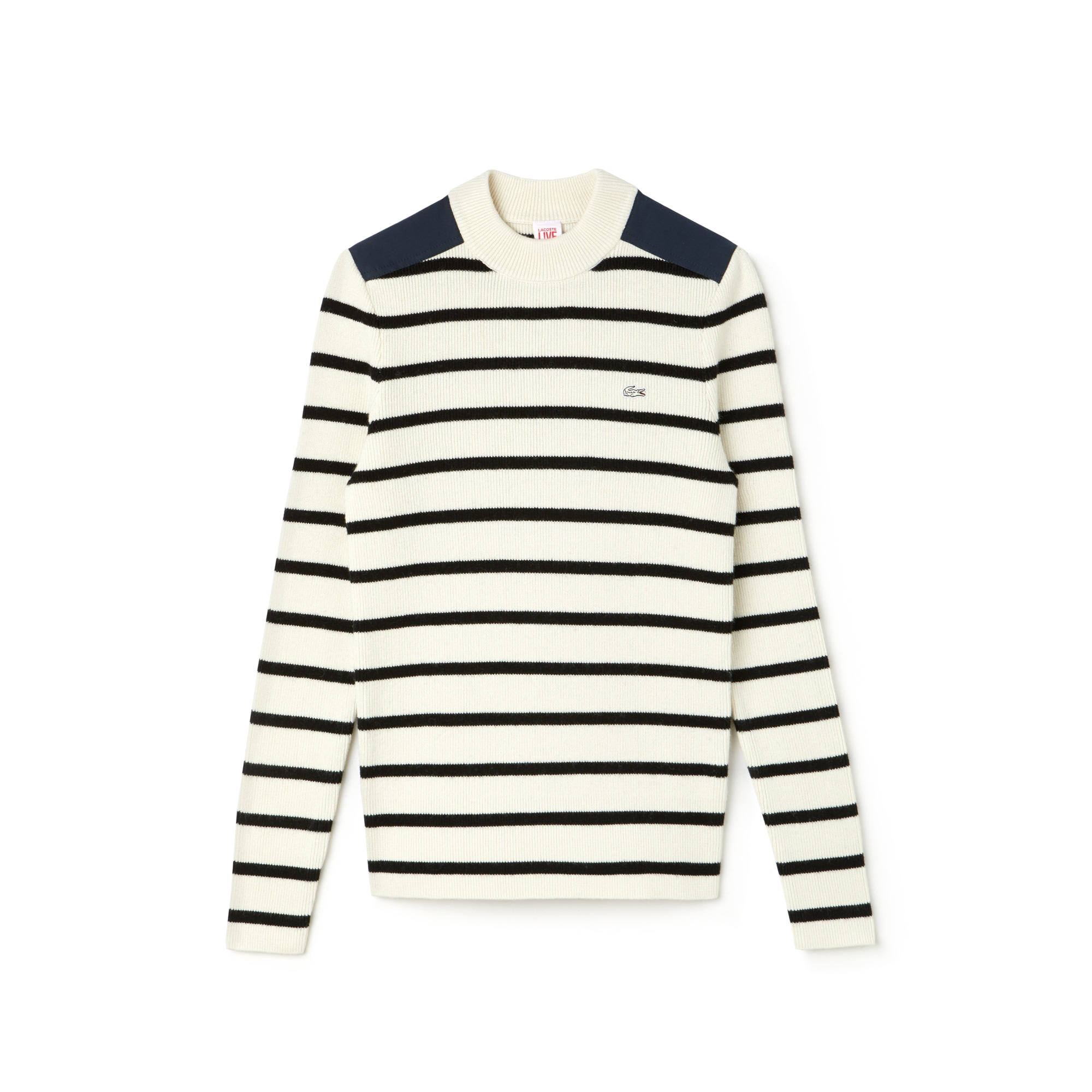 Women's LIVE Crew Neck Striped Interlock Sweater