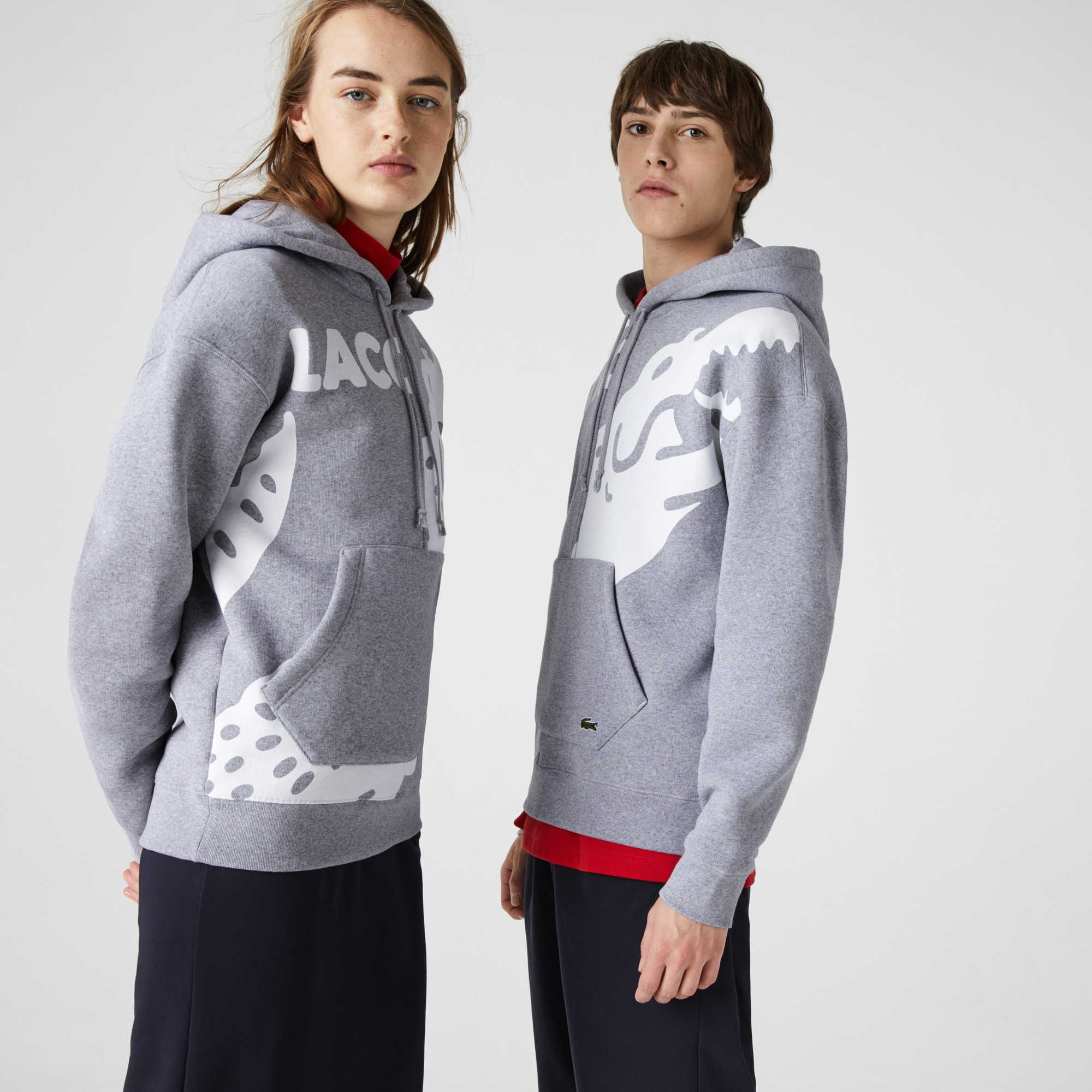 Unisex 라코스테 Lacoste LIVE Loose Fit Print Fleece Hoodie,Grey Chine / White W9D