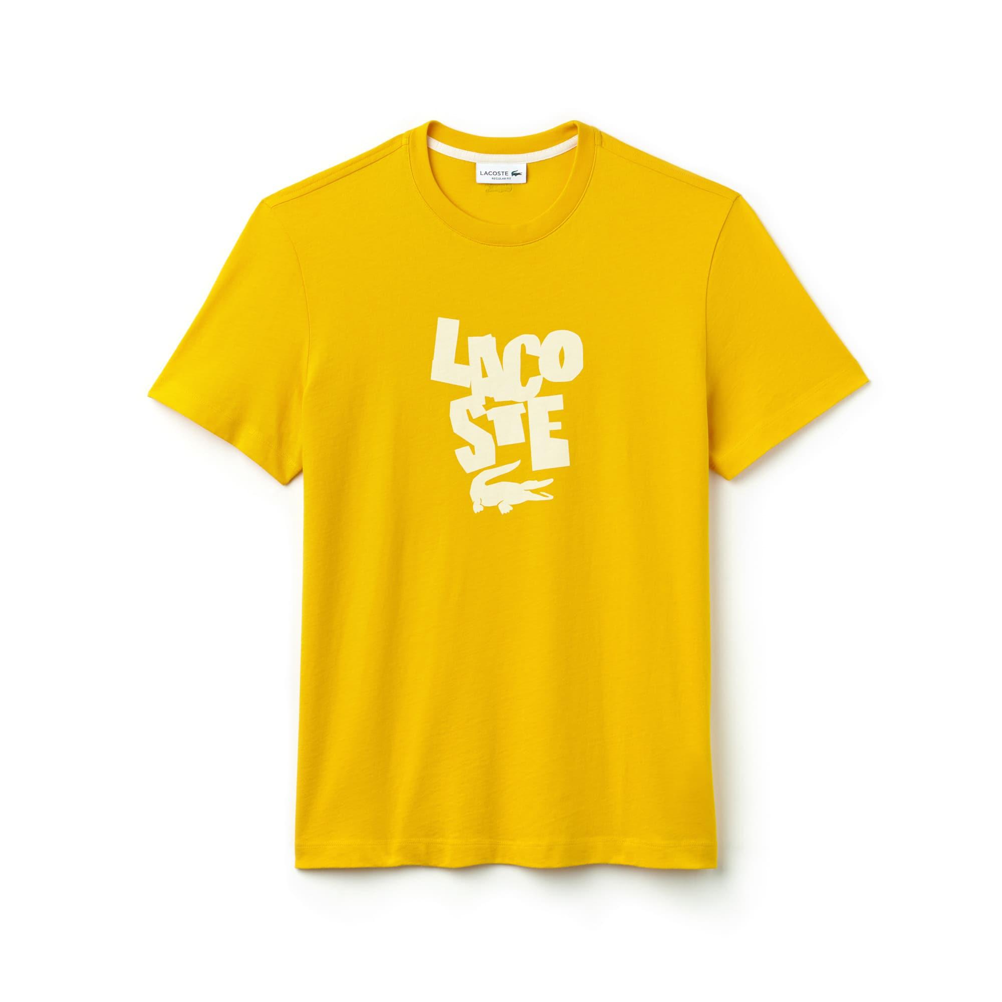 Men's Crew Neck Lettering Cotton T-Shirt