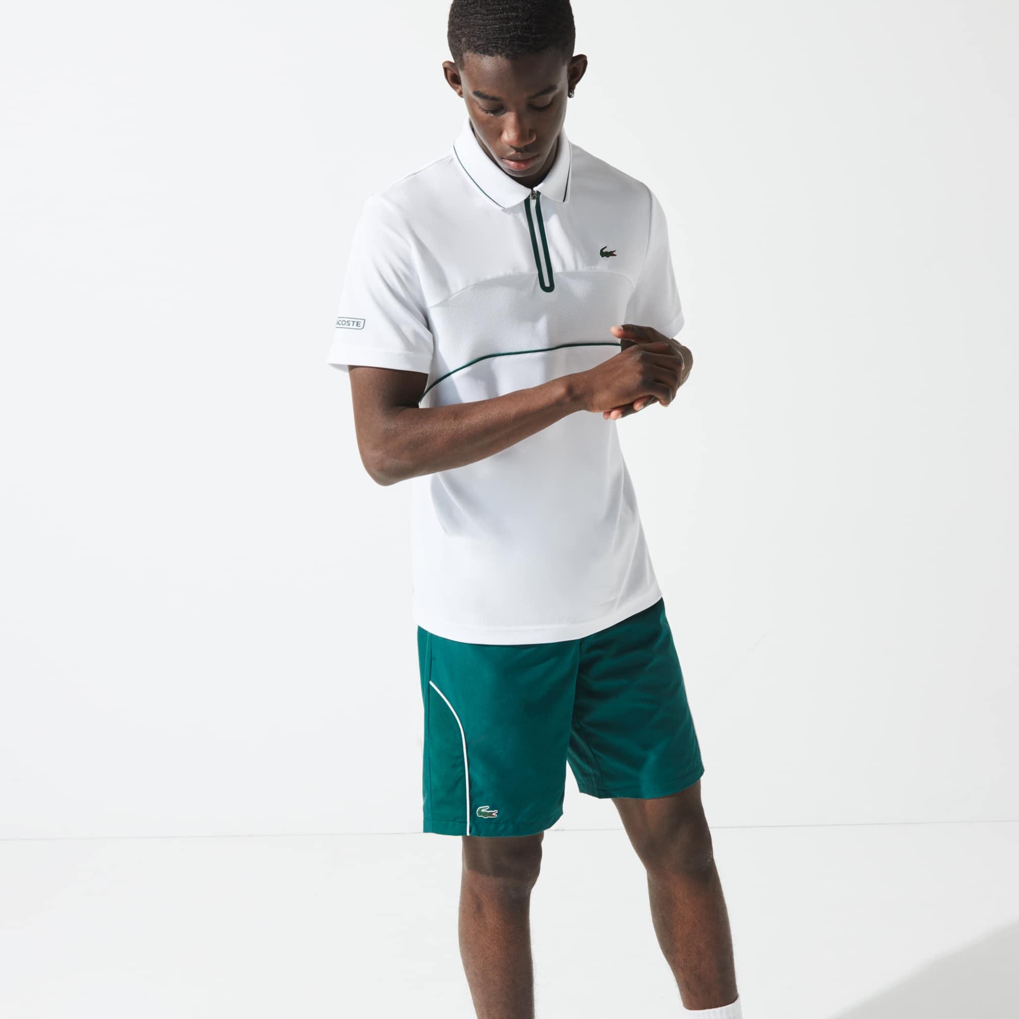 Mens 라코스테 Lacoste SPORT Court Shorts,Green / White / Black 4GW