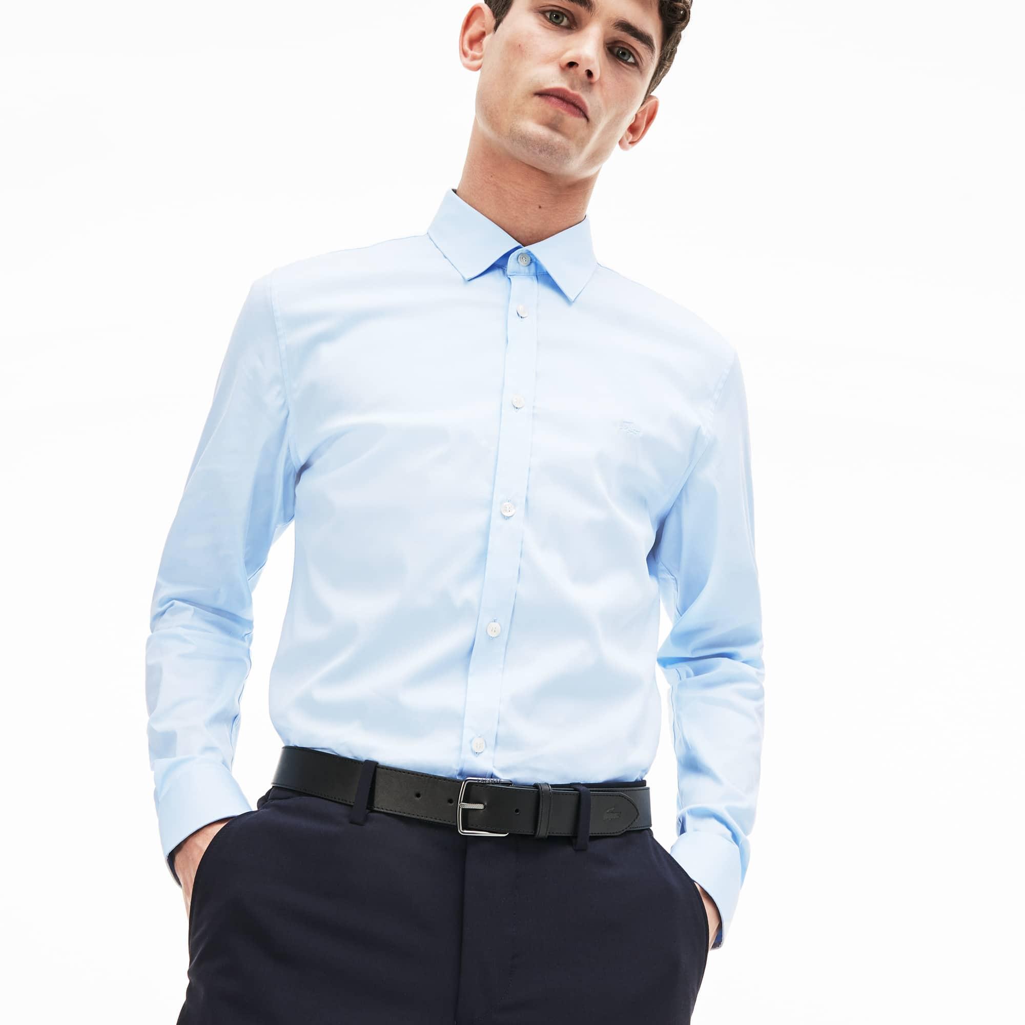 Camisa de popelina de algodón stretch de slim fit para hombre ee9f5f48980