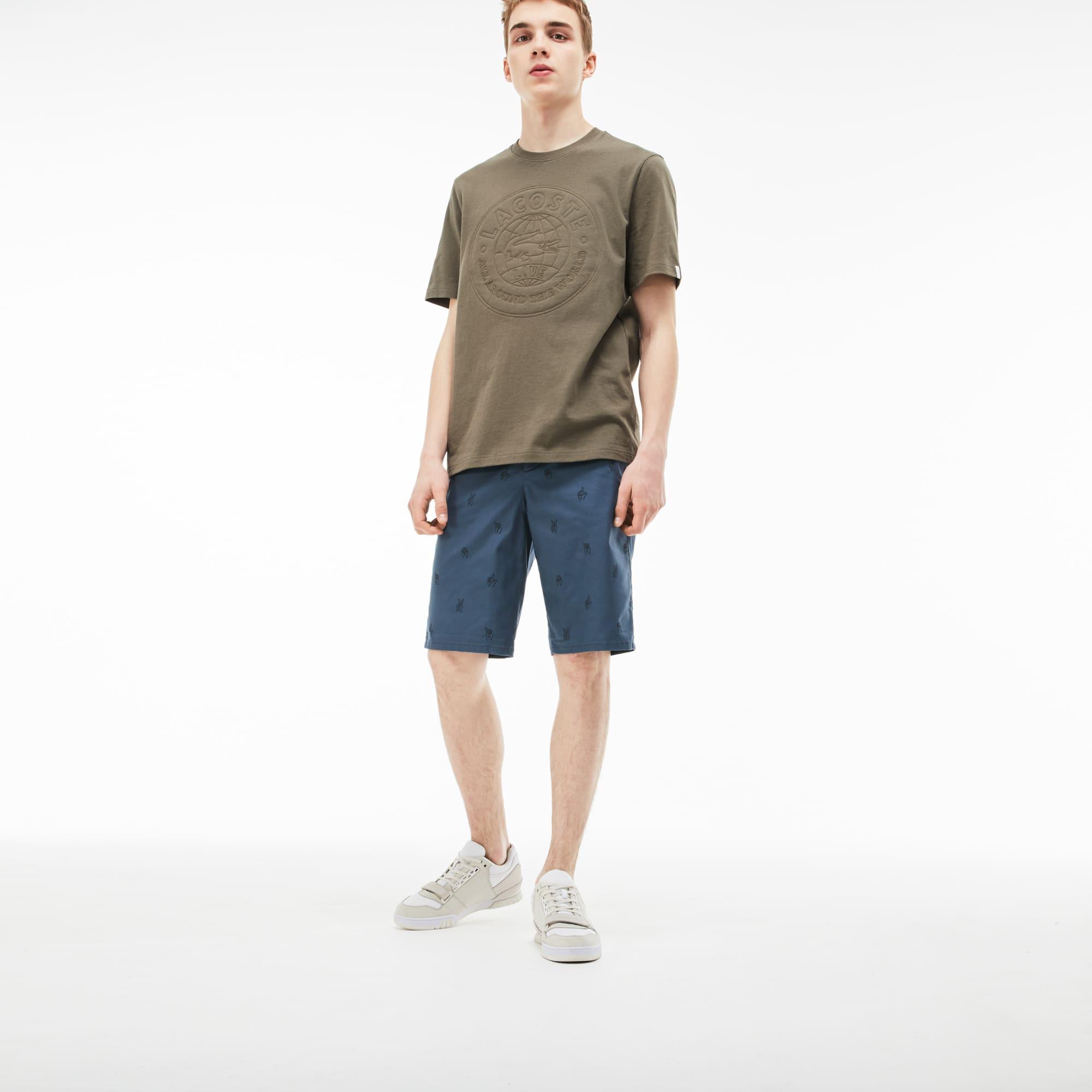 Men's LIVE Mini Embroidery Stretch Cotton Twill Bermuda Shorts