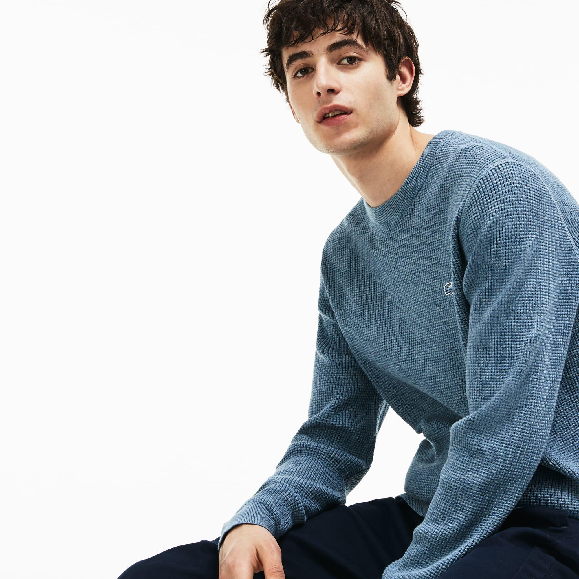 Men's Crew Neck Honeycomb Cotton Sweater