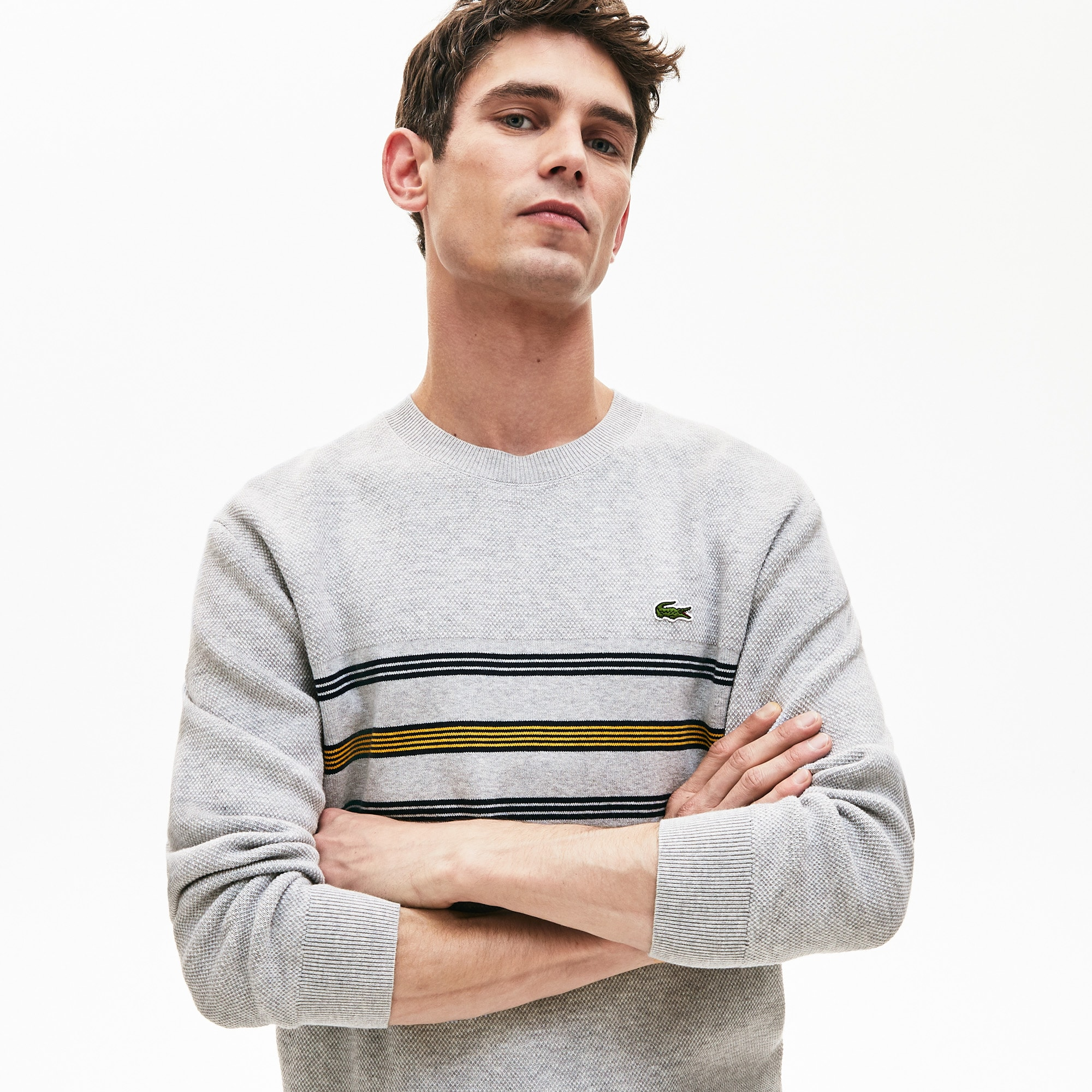 Men's Crewneck Striped Texturized Piqué Sweater