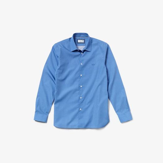 라코스테 Lacoste Mens Slim Fit Cotton Poplin Shirt,Blue - 776