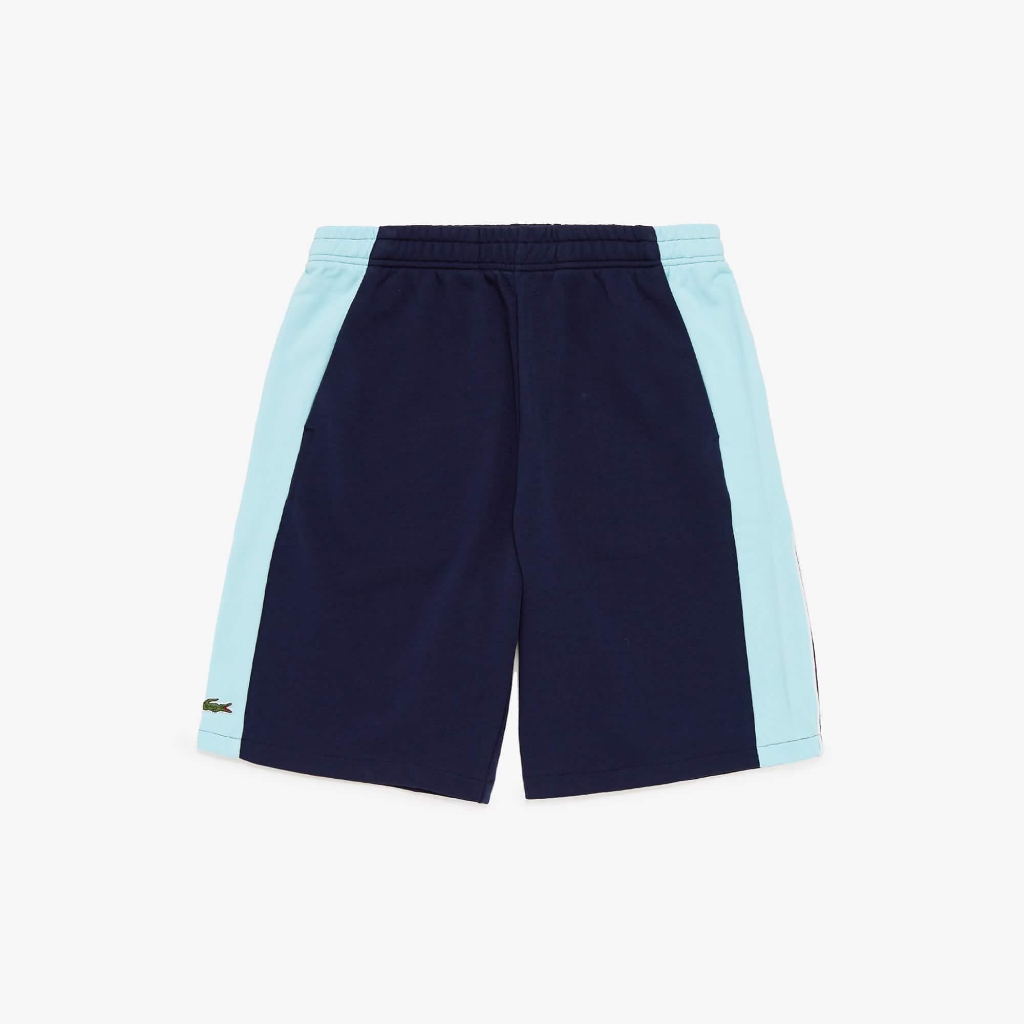 라코스테 Lacoste Mens SPORT Miami Open Colorblock Fleece Shorts,Navy Blue / Turquoise / White JGK