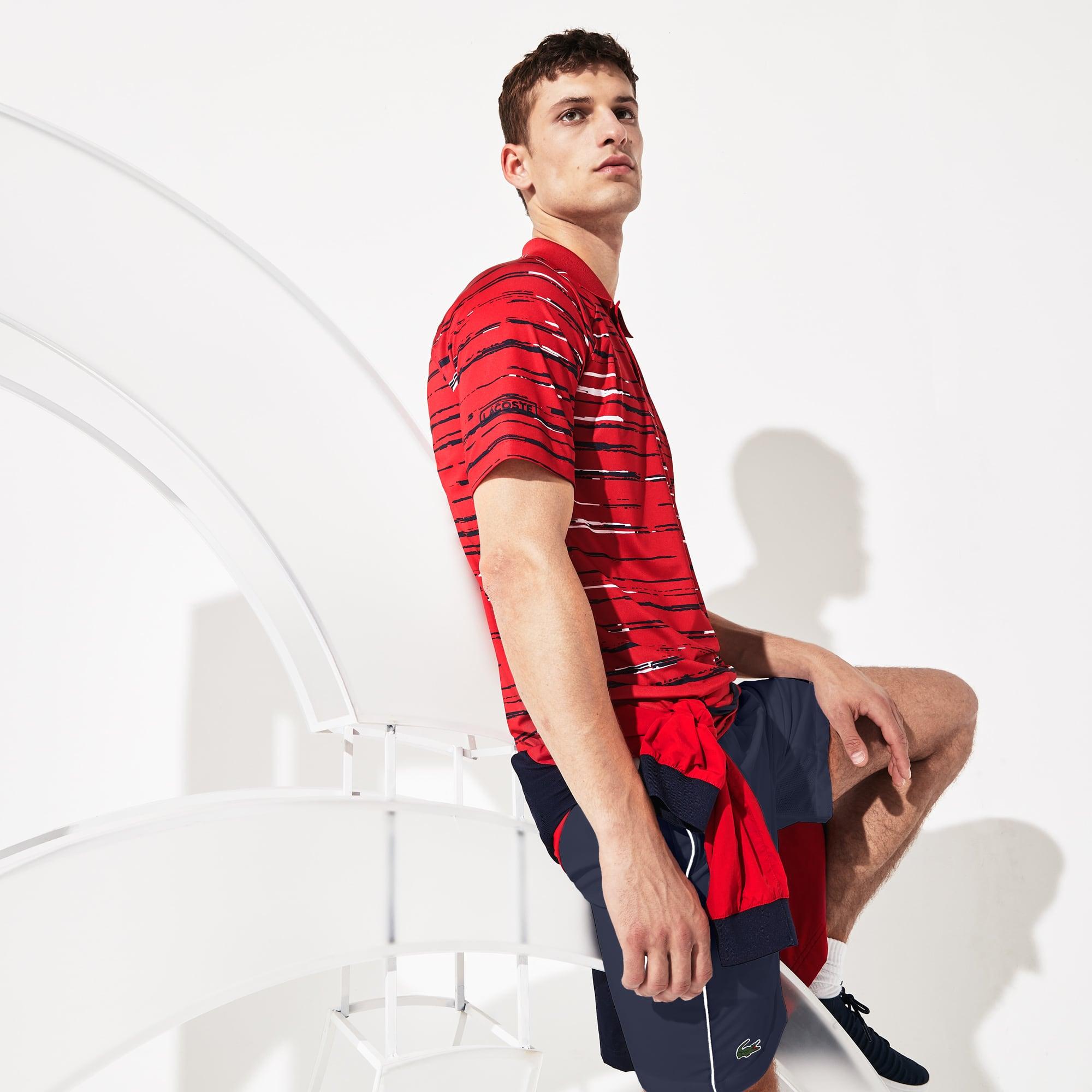 라코스테 Lacoste Mens SPORT Novak Djokovic Striped Jersey Polo,Red / Navy Blue / White - BTZ