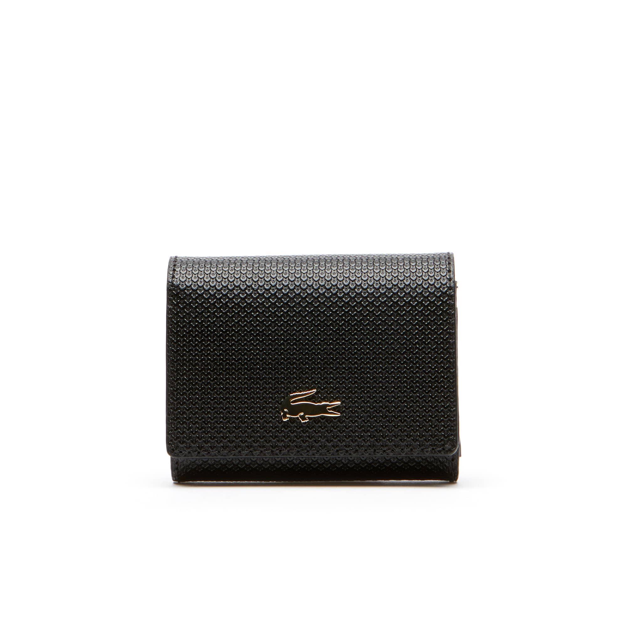 라코스테 지갑 Lacoste Womens Chantaco Bicolor Pique Leather 3 Card Wallet,black