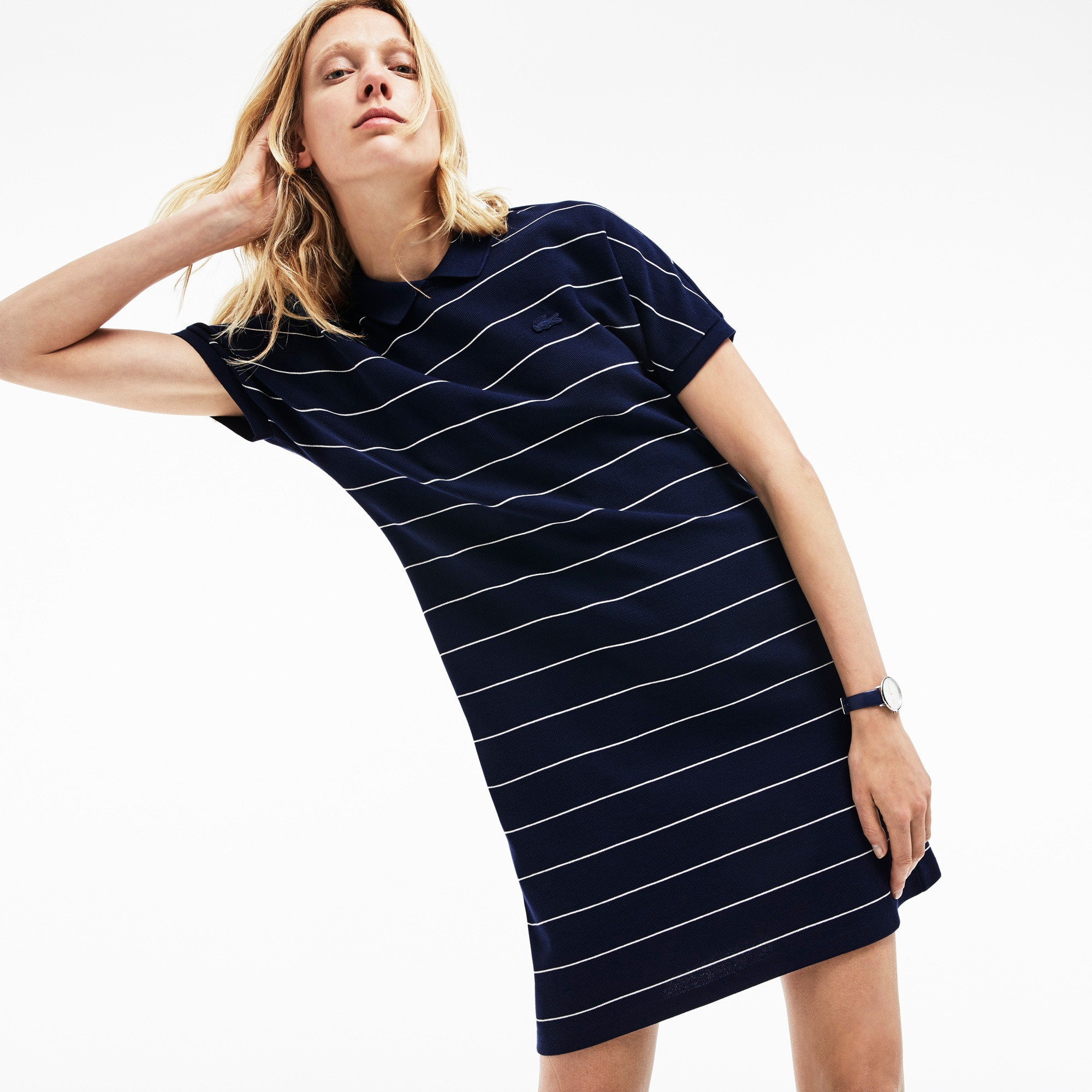 Women's Striped Honeycomb Polo Dress