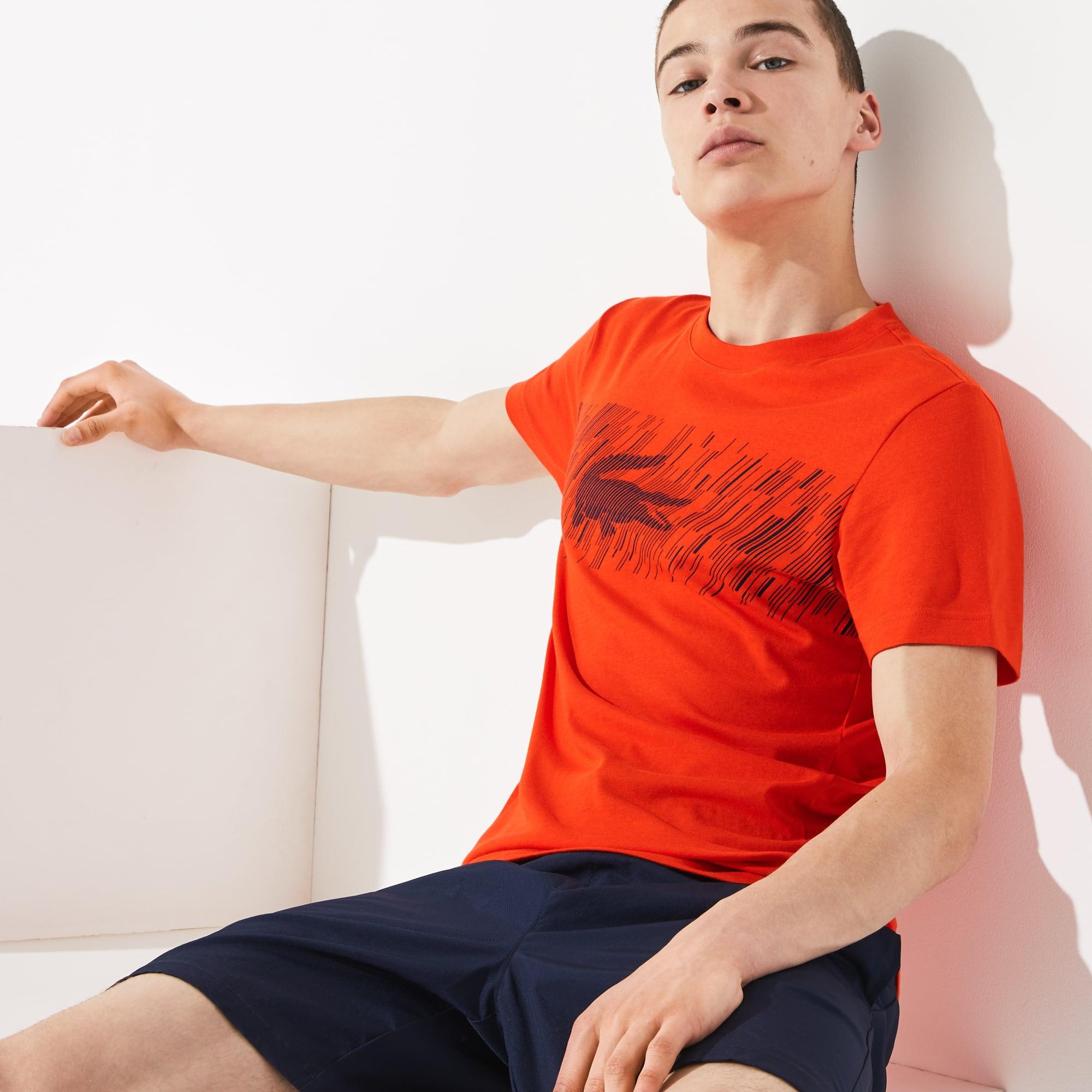 Lacoste Mens SPORT Crew Neck Croc Print Tech Jersey Tennis T-shirt