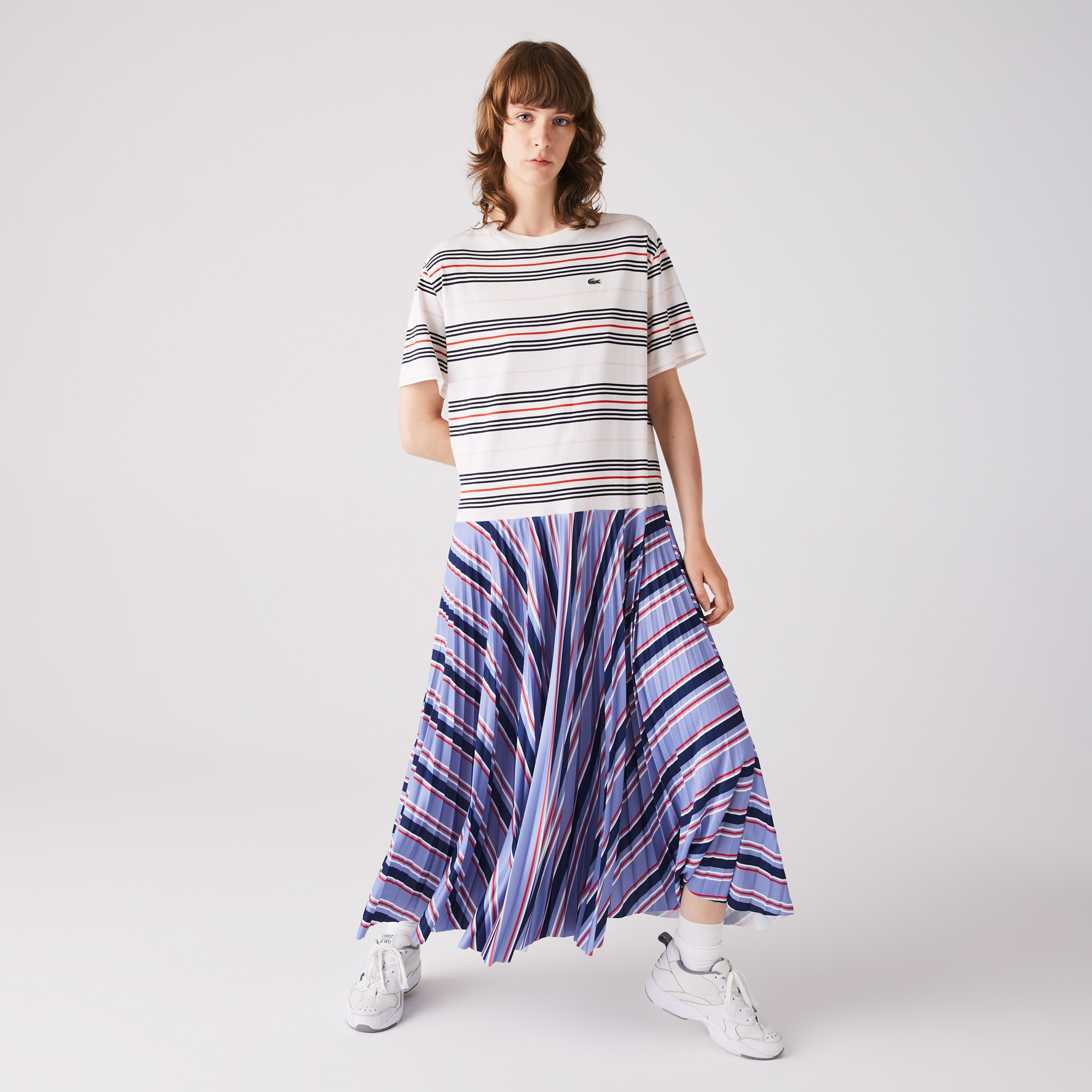 라코스테 스트라이프 주름 티셔츠 원피스 Lacoste Womens Dissimilar Striped Pleated Jersey T-shirt Dress
