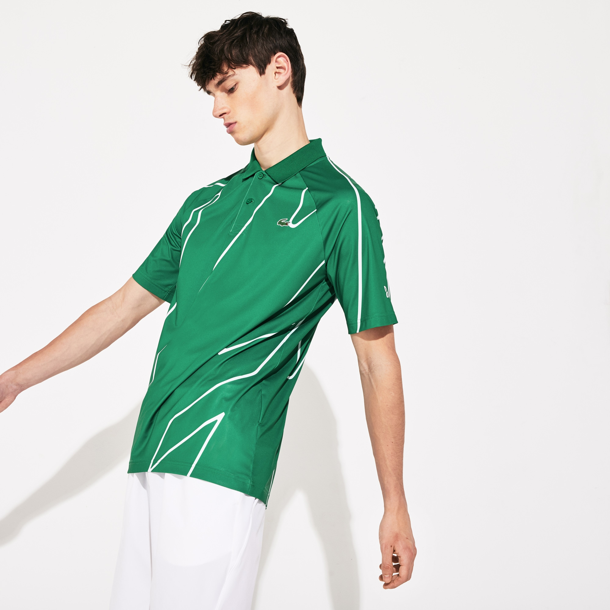 라코스테 Lacoste Mens SPORT Novak Djokovic Printed Breathable Polo Shirt,Green / White - 4YA