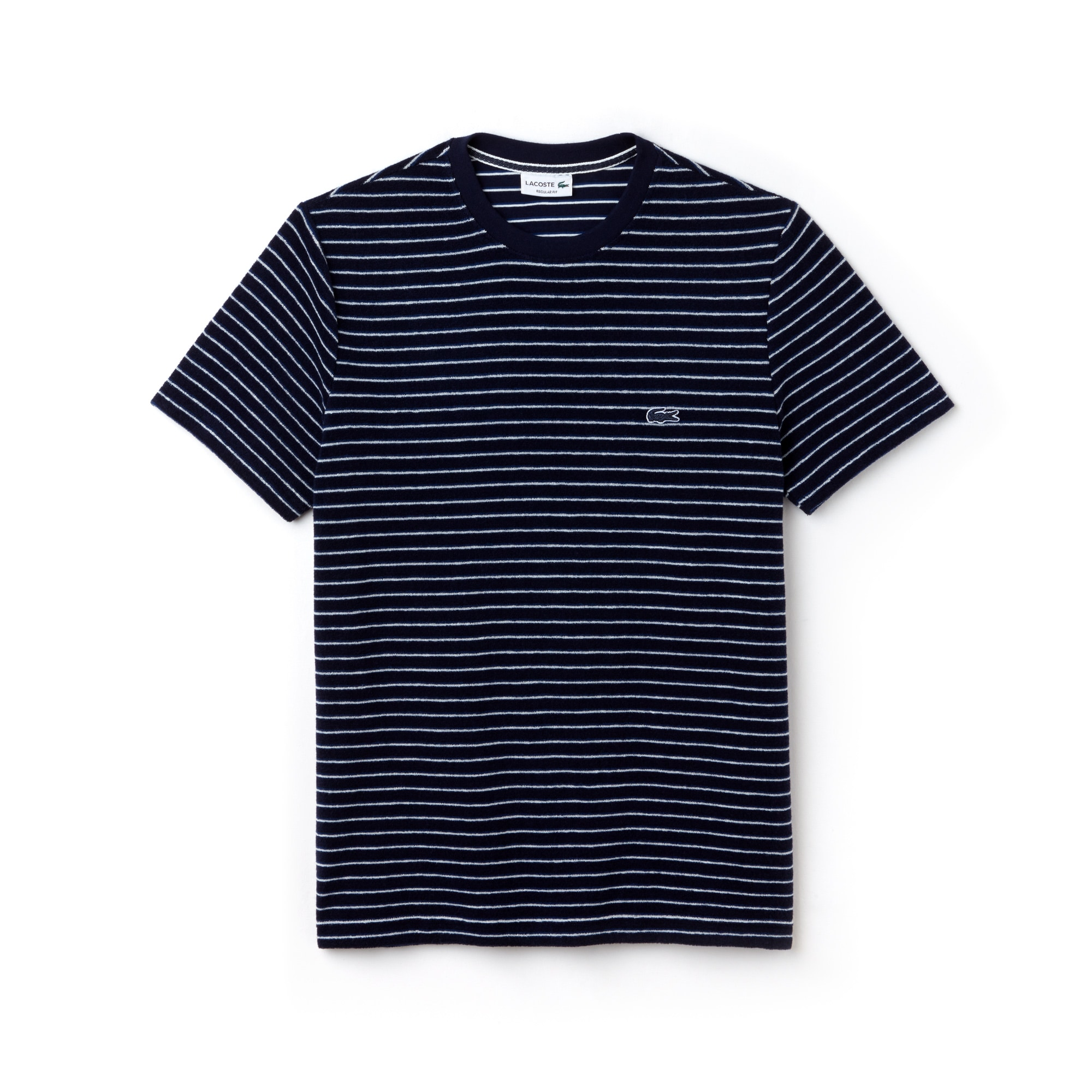 Men's Contrasting Crew Neck Striped Cotton Terrycloth T-Shirt
