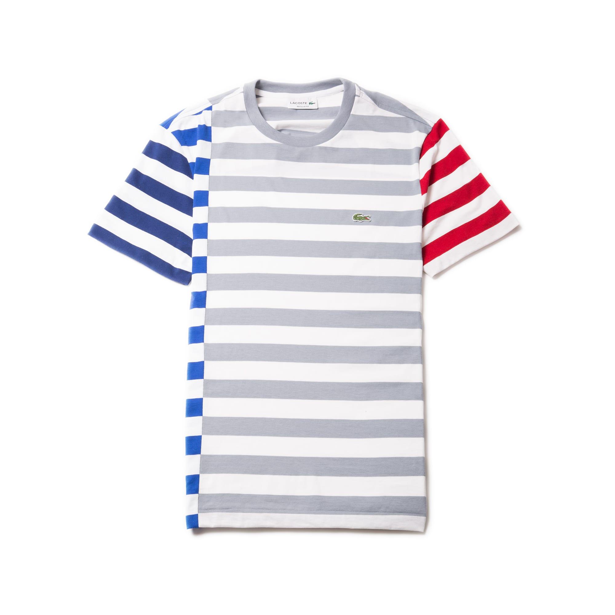 Men's Crew Neck Off-Center Stripes Cotton Jersey T-shirt