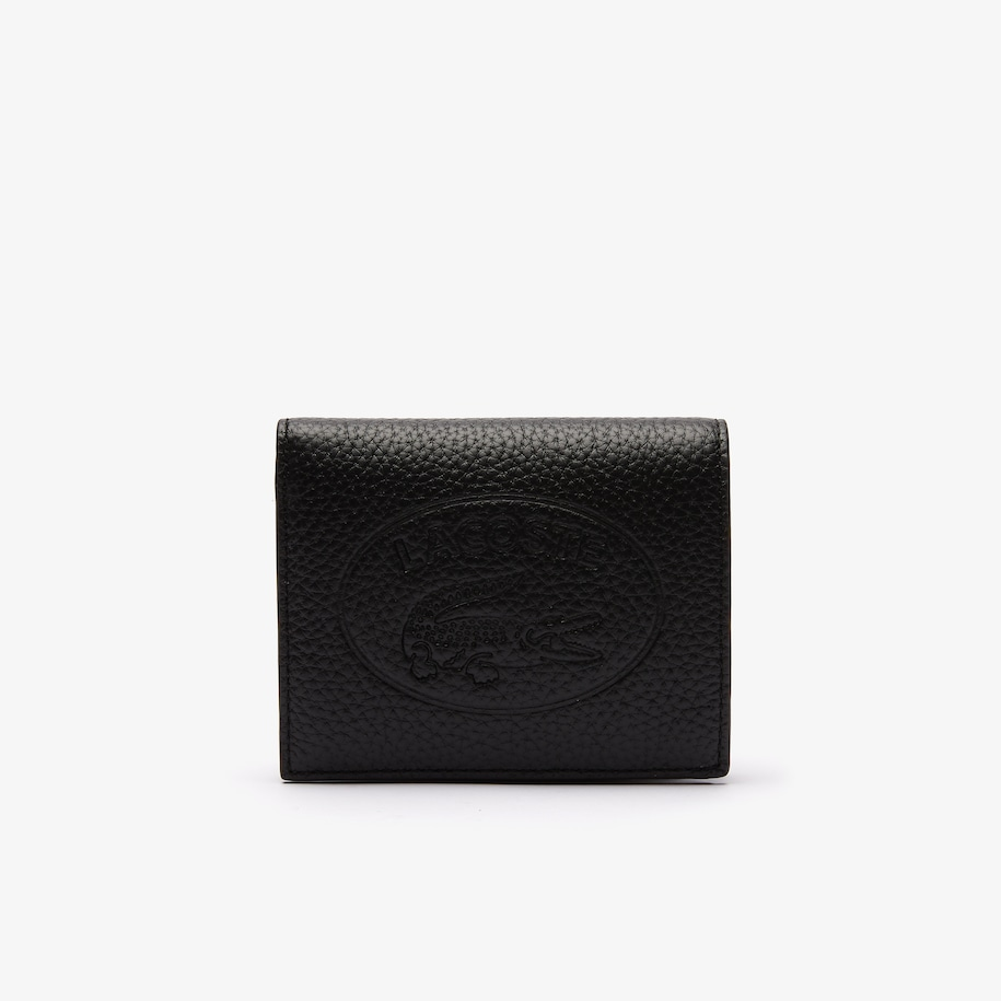 Women's Croco Crew Grained Leather Bi-fold Wallet with Coin Purse