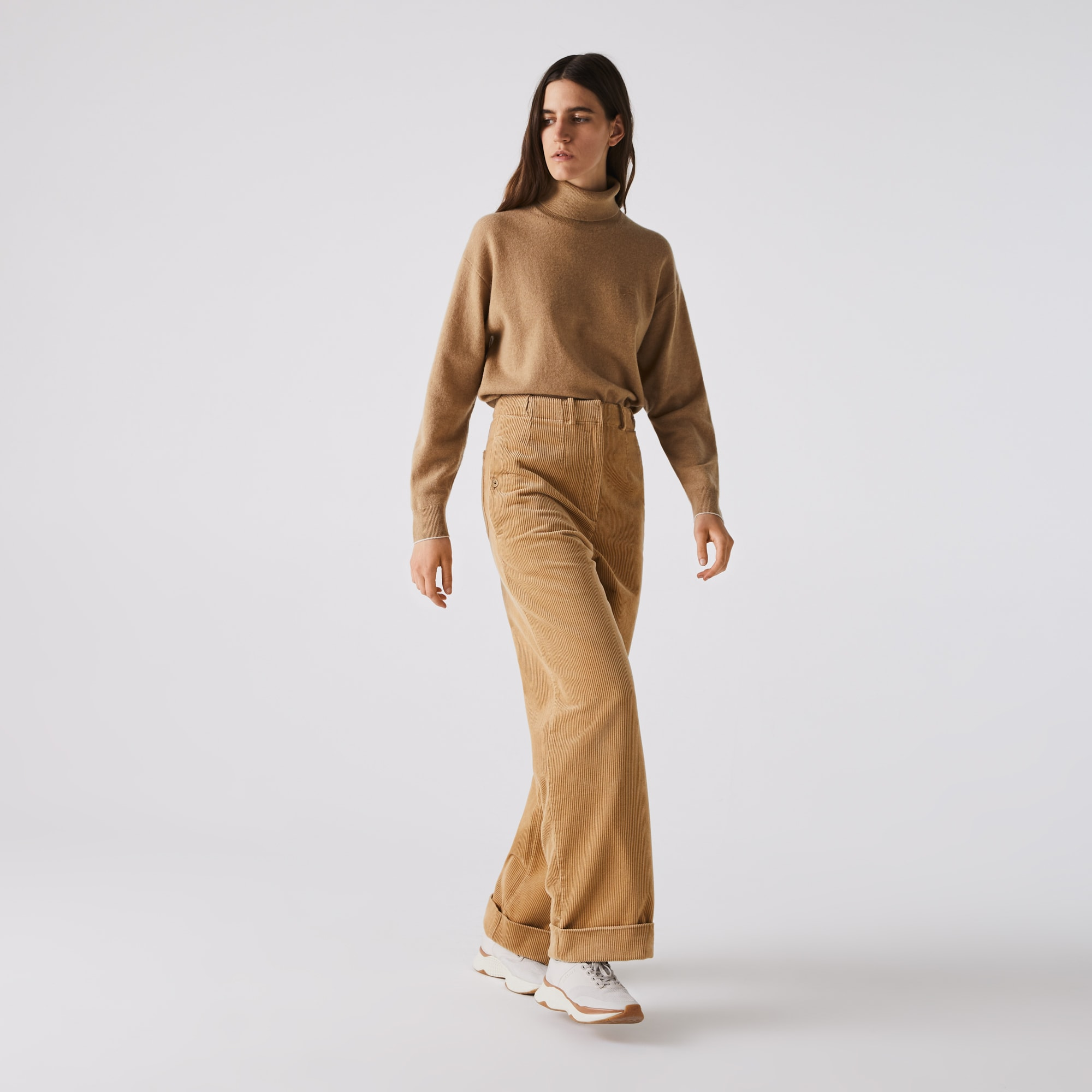 Womens Lacoste LIVE High-Waisted Loose Ribbed Velvet Pants