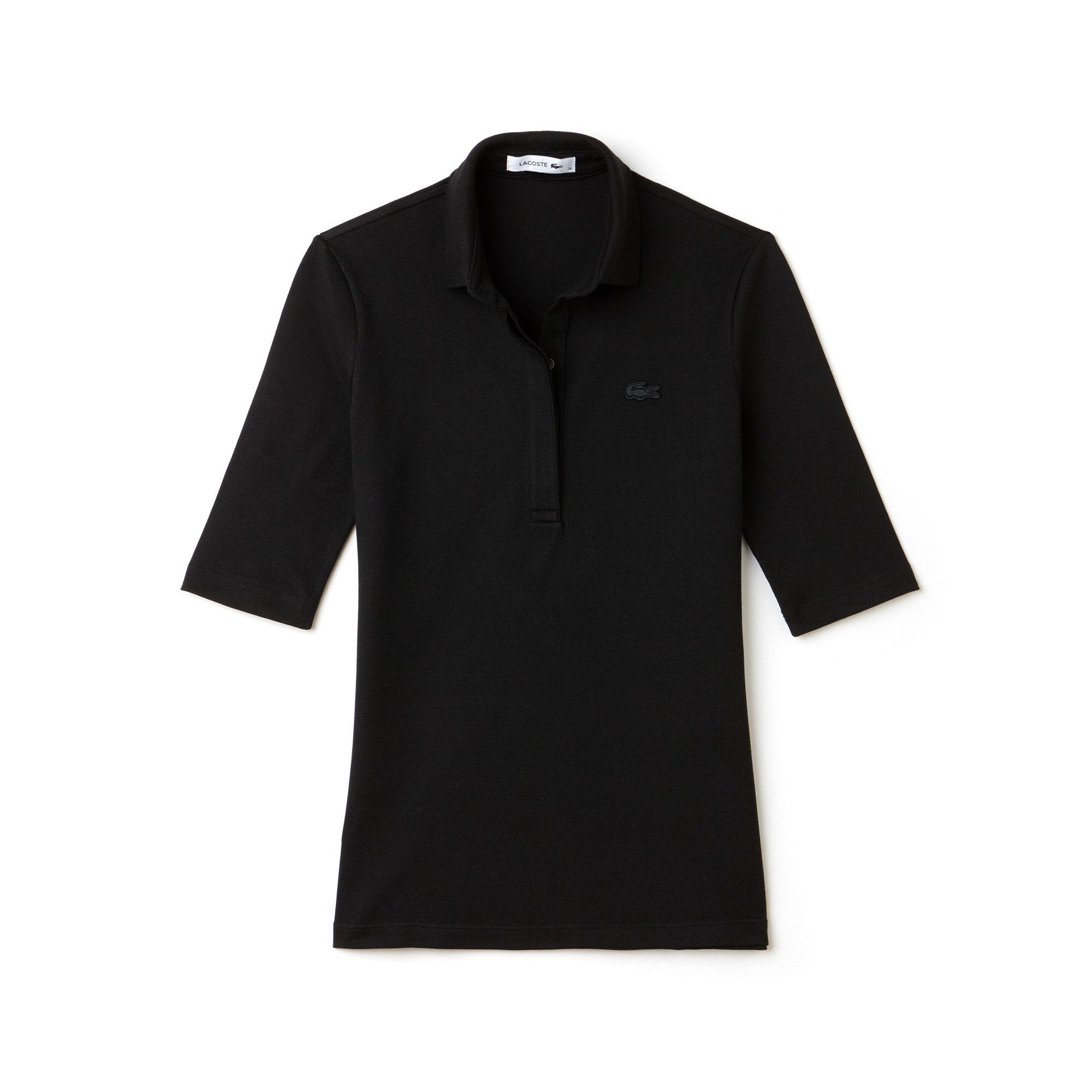 라코스테 Lacoste Womens Slim Fit Stretch Mini Pique Polo Shirt,black