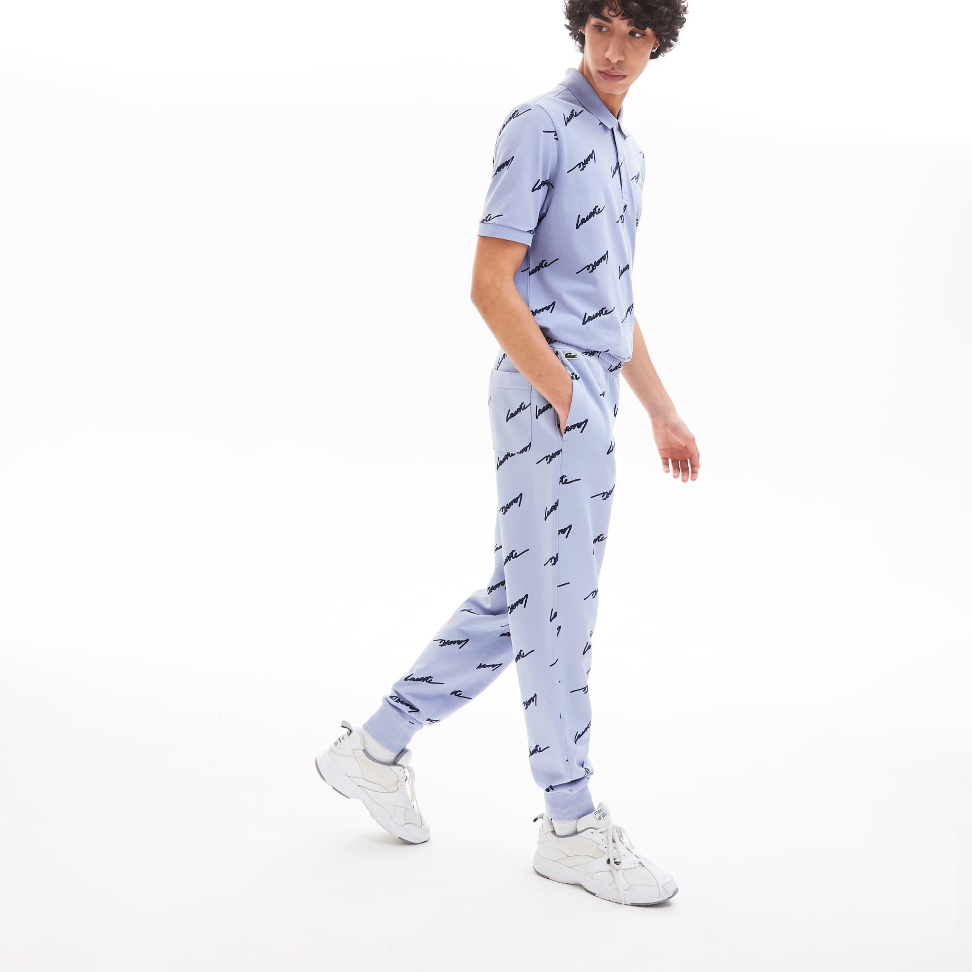 라코스테 Lacoste Men's LIVE Cotton Fleece Sweatpants,Purple / Navy Blue XJ5