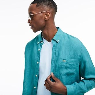 라코스테 린넨 셔츠 (레귤러 핏) Lacoste Mens Regular Fit Linen Shirt,Blue