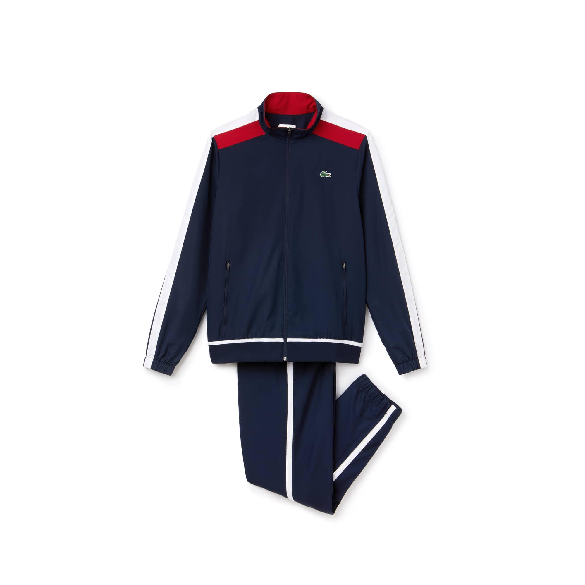 라코스테 스포츠 트랙 수트 Lacoste Mens SPORT Colored Bands Taffeta Tennis Tracksuit,navy blue/white-lighthous