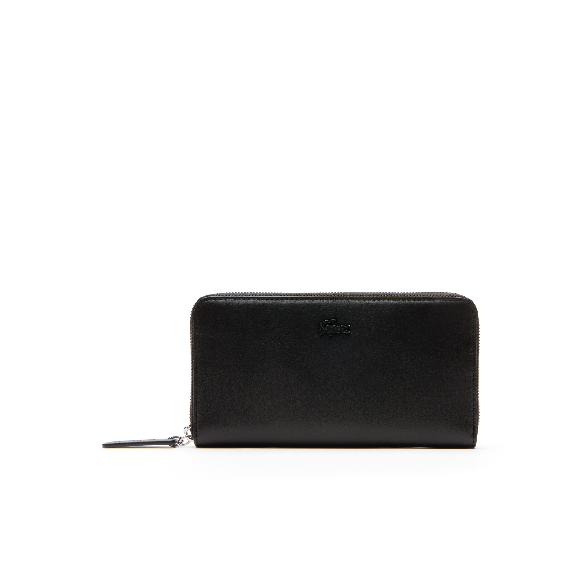 라코스테 Lacoste Womens L.12.12 Leather 8 Card Zip Wallet,BLACK