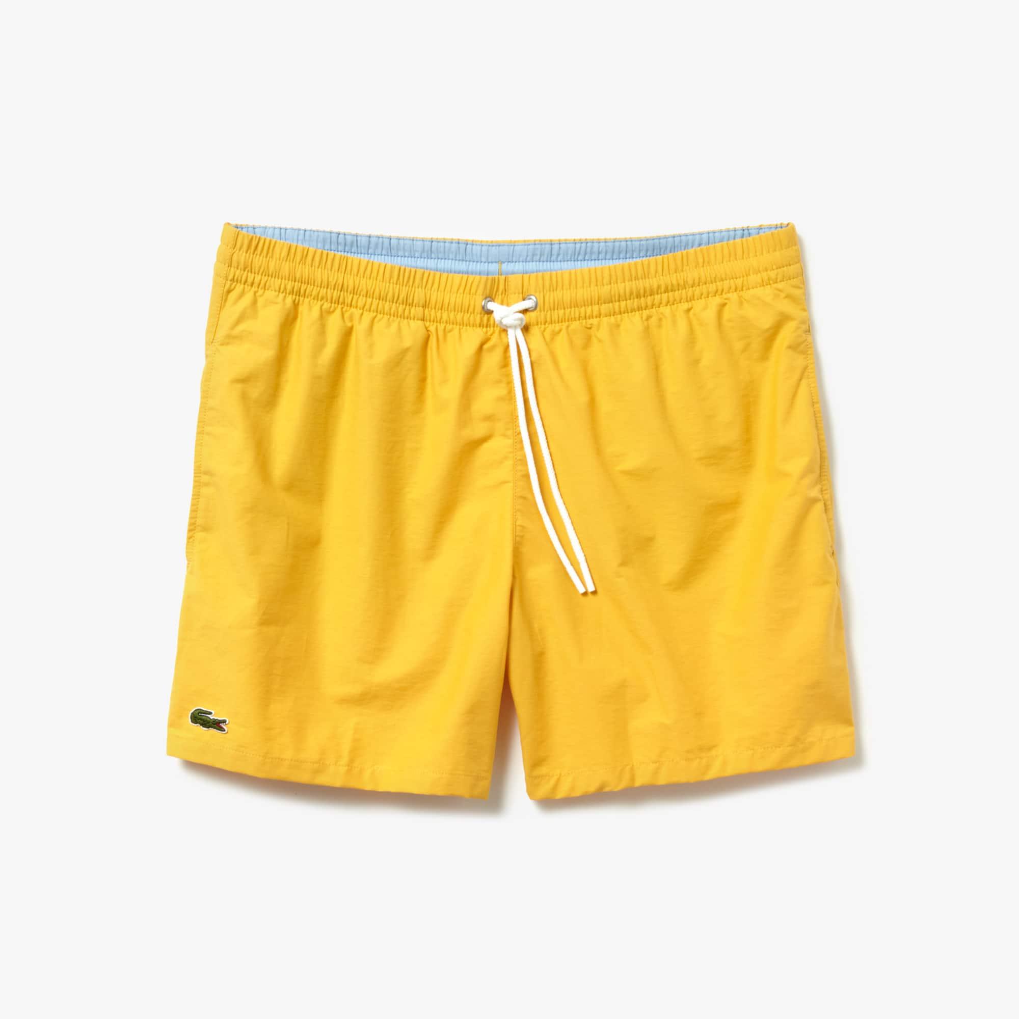 34e82f9b29 Lacoste Men's Taffeta Swim Trunks In Light Orange / Light Blue ...