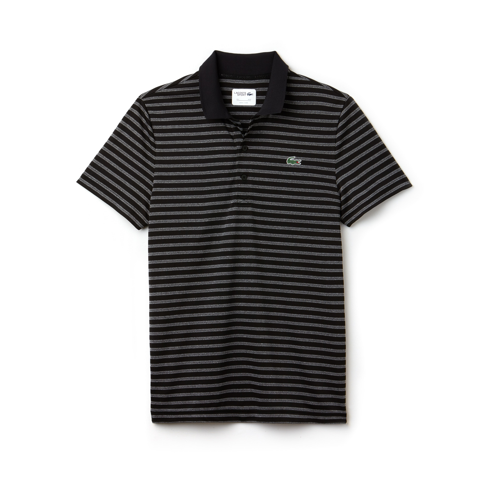 라코스테 스포츠 반팔 카라티 Lacoste Mens SPORT Striped Technical Jersey Golf Polo,black/white