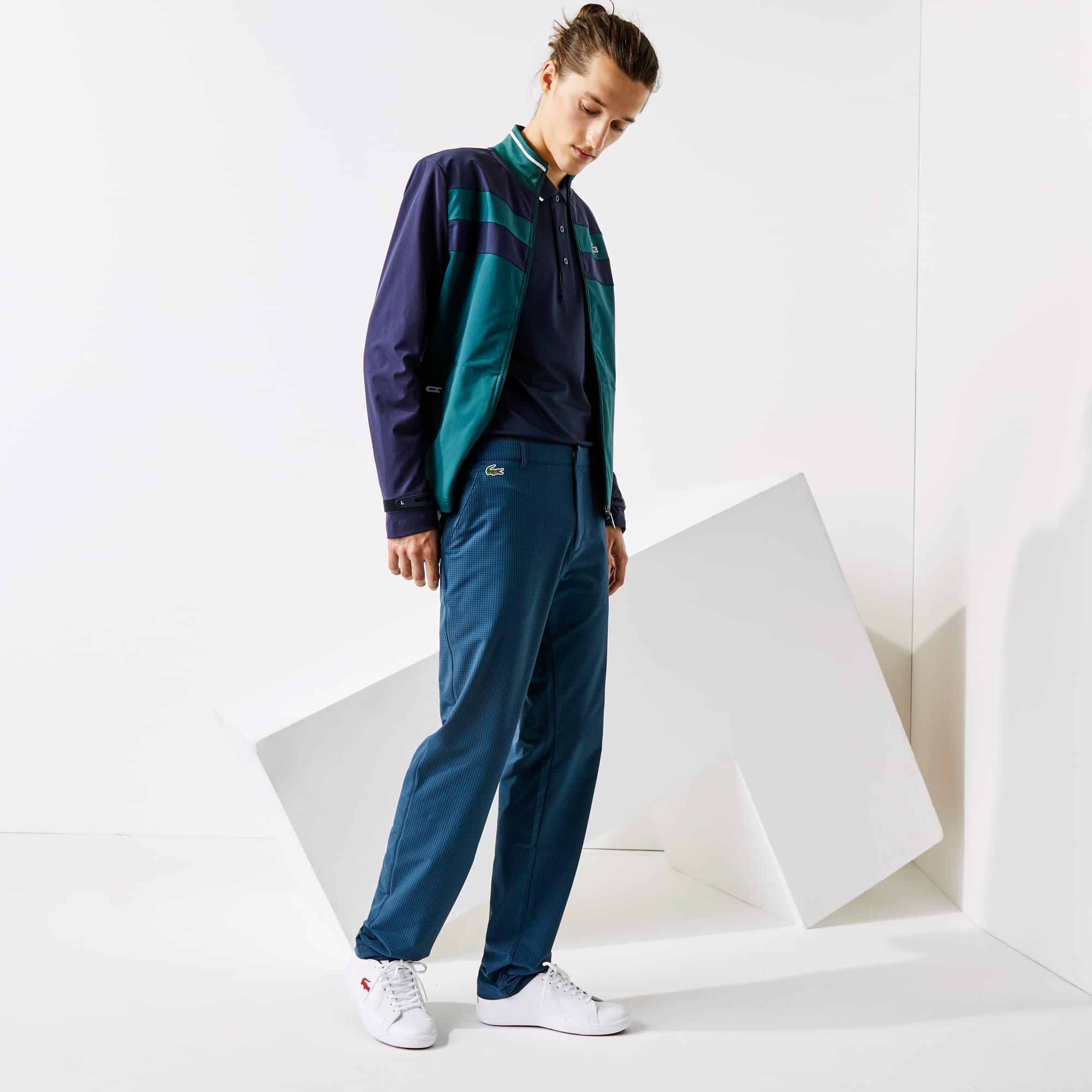 라코스테 골프 팬츠 Lacoste Mens SPORT Checkered Technical Golf Pants,Navy Blue / Green DVQ
