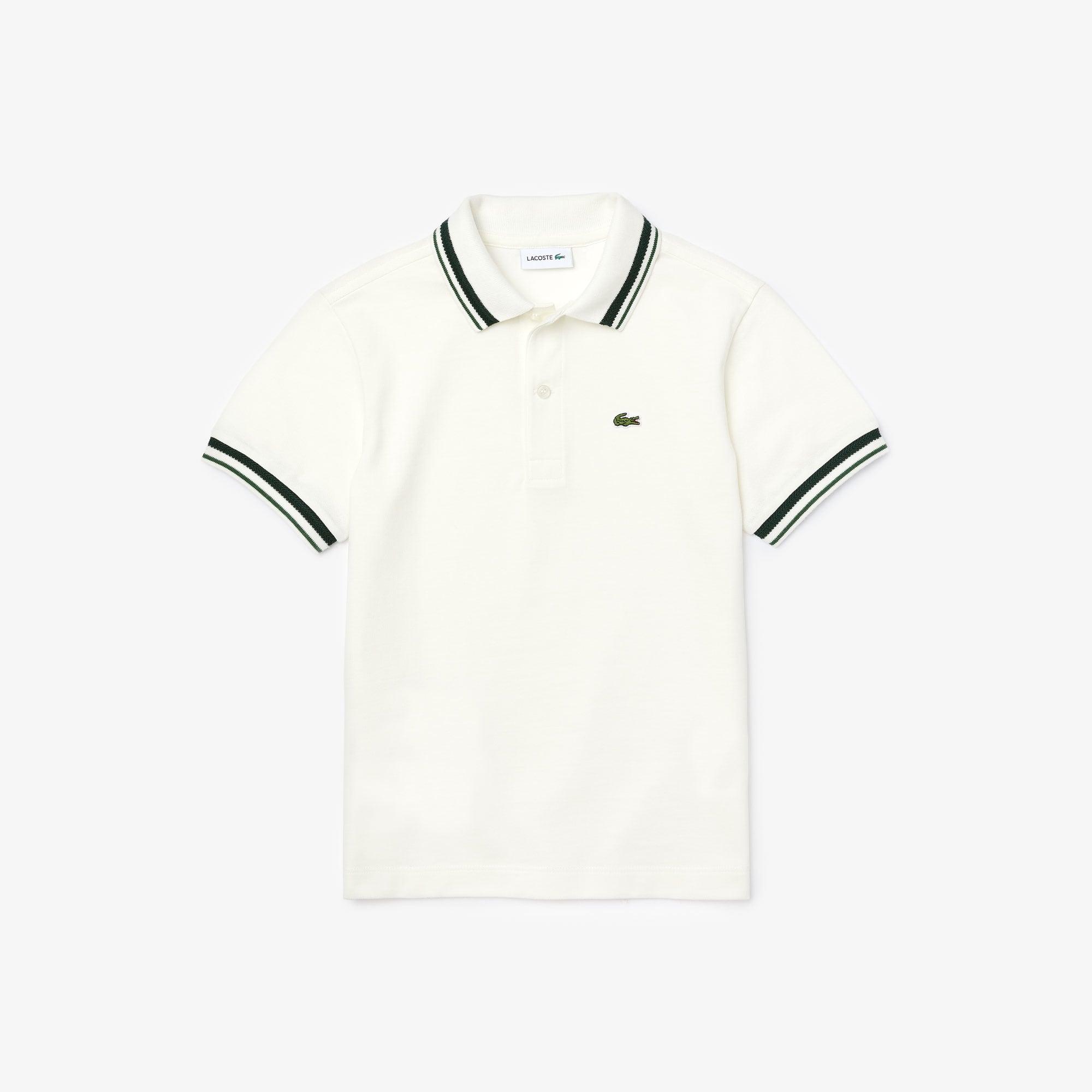라코스테 Lacoste Boys Contrast Detail Cotton Pique Polo,White • 2CQ
