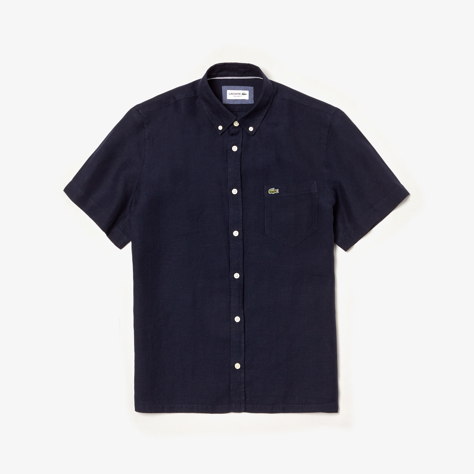라코스테 반팔 셔츠 Lacoste Mens Regular Fit Linen Shirt,navy blue