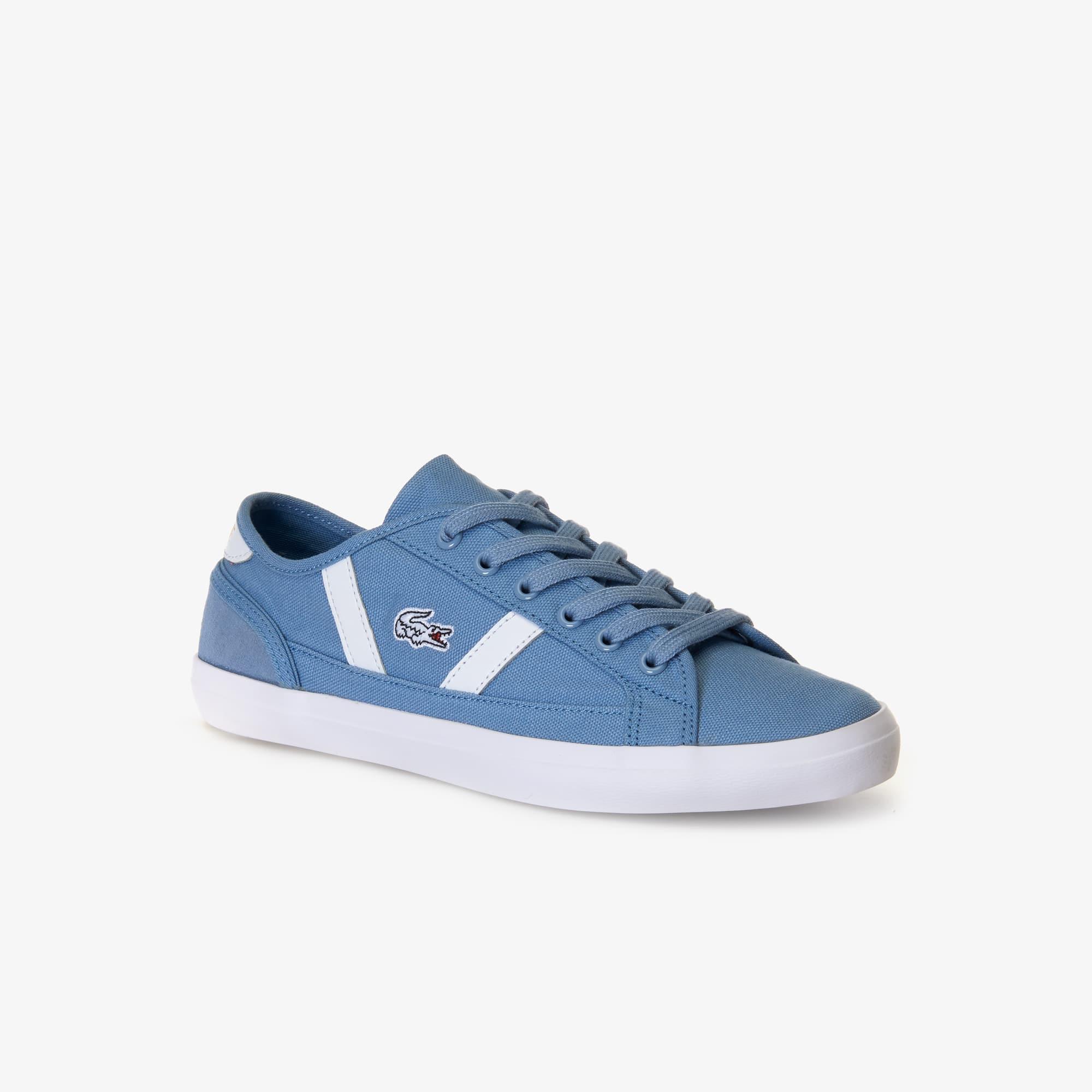 라코스테 우먼 사이드라인 스니커즈 - 라이트 블루/화이트 Lacoste Womens Sideline Canvas and Leather Sneakers,LIGHT BLUE/WHITE - 2K7