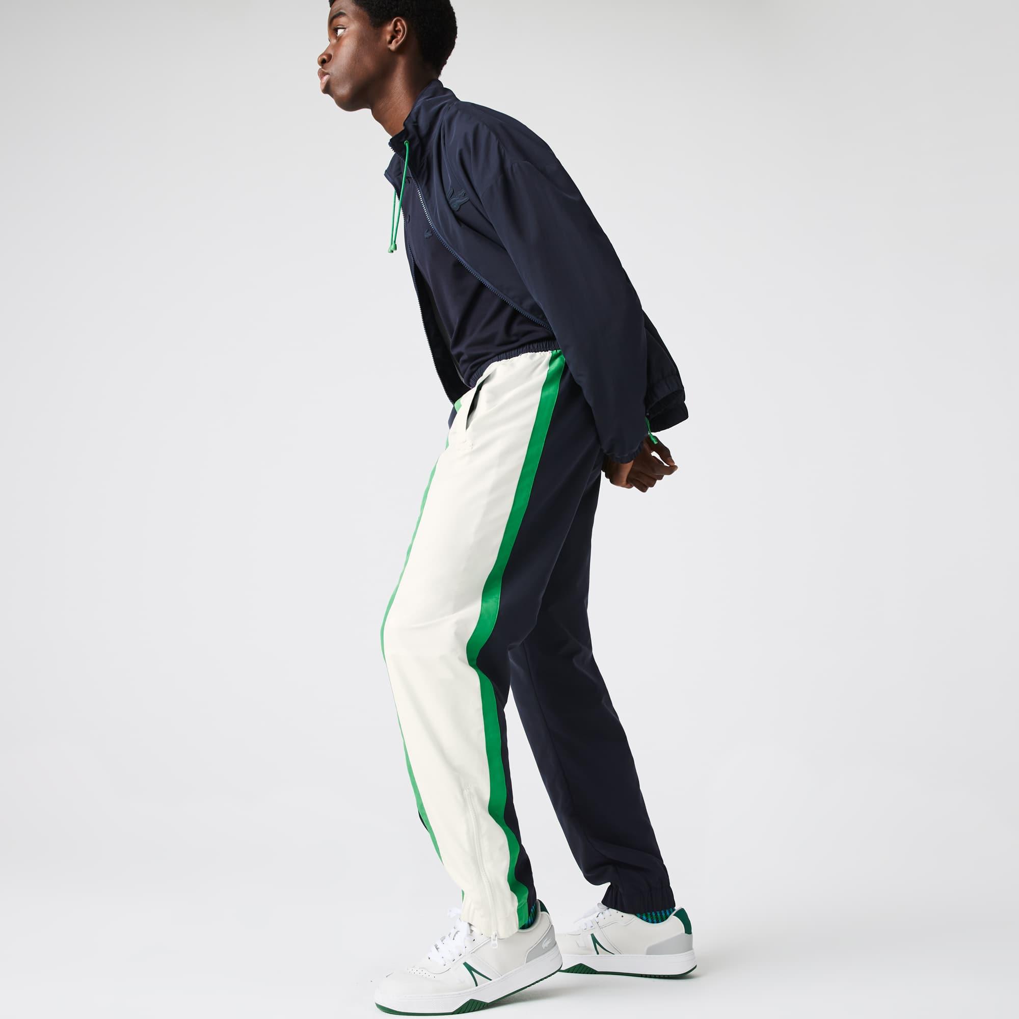 라코스테 맨 경량 트랙수트 팬츠 Lacoste Mens Lightweight, Water-Repellent Colorblock Tracksuit Pants,Navy Blue / White / Green 19V