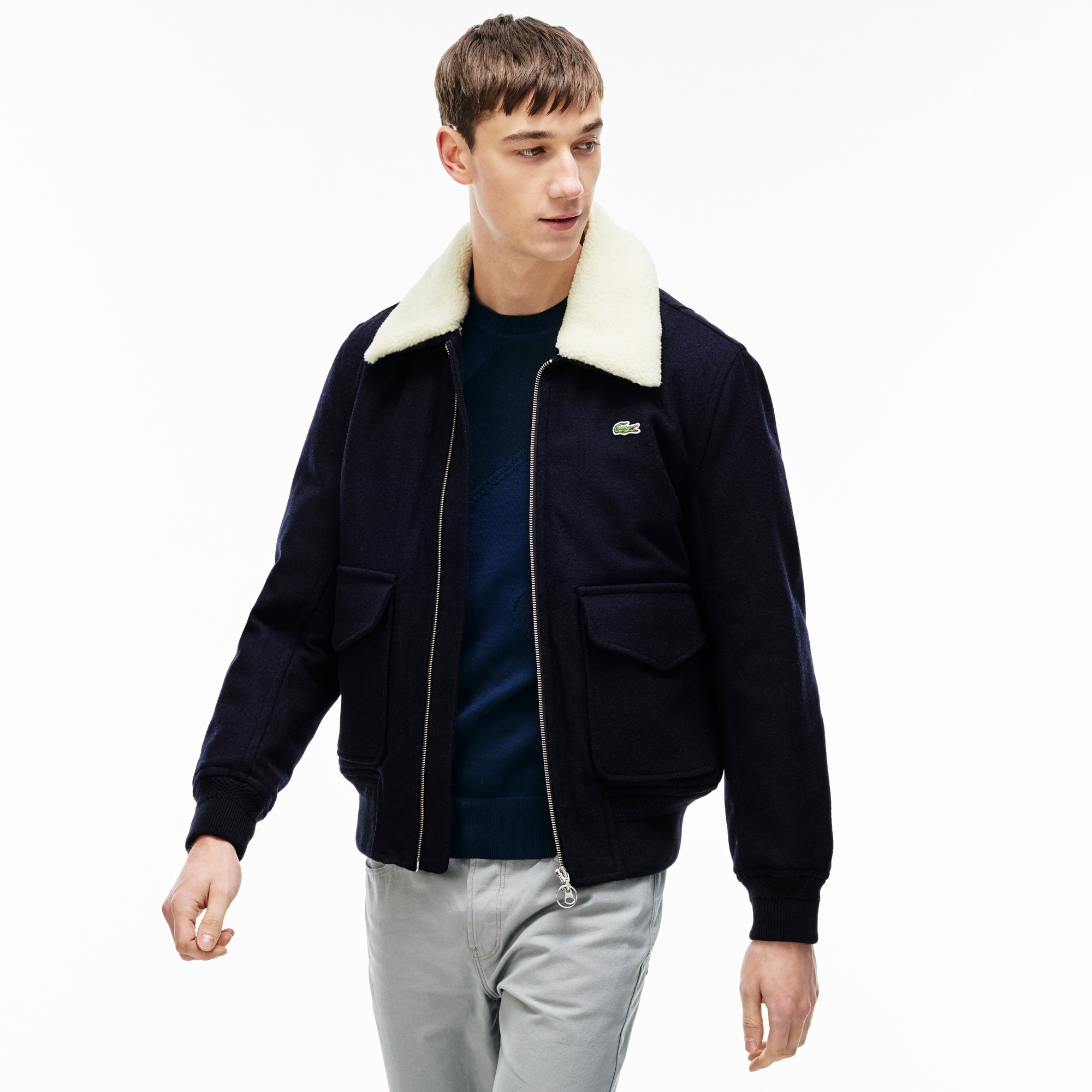 Men's Lacoste LIVE Wool Jacket With Faux Fur Collar